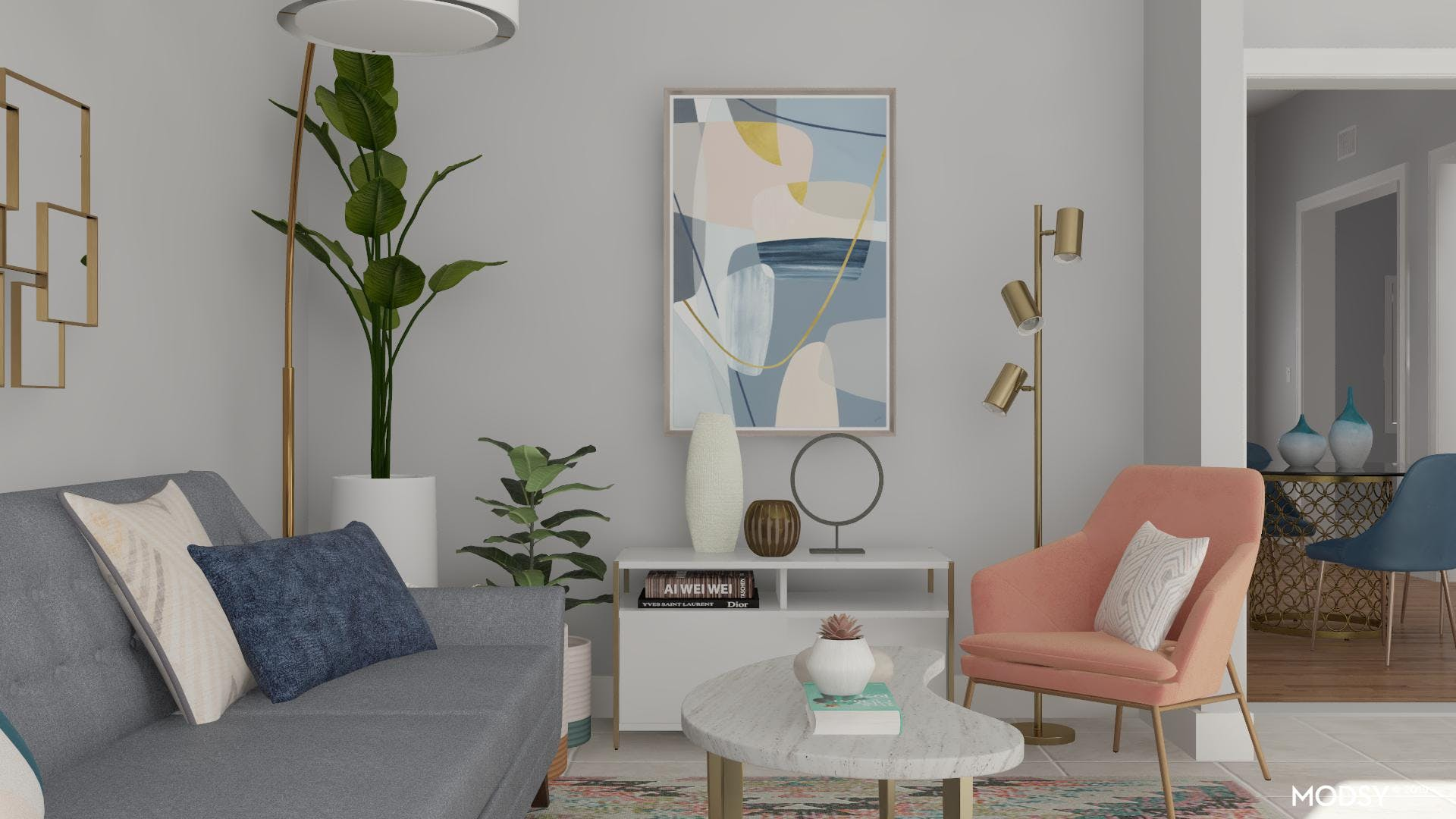 Colorful Modern Pet-Friendly Living Room