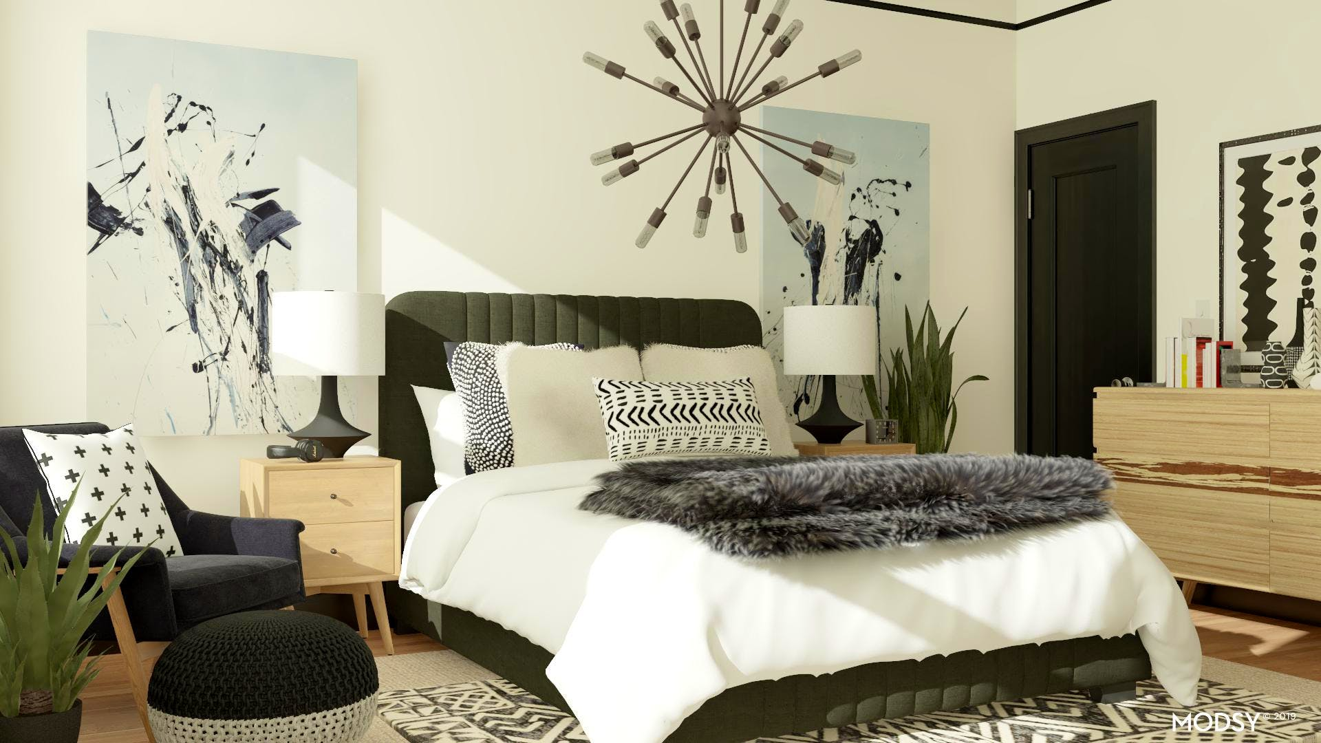 Masculine Mid-Century Modern Bedroom With Black & White Accents