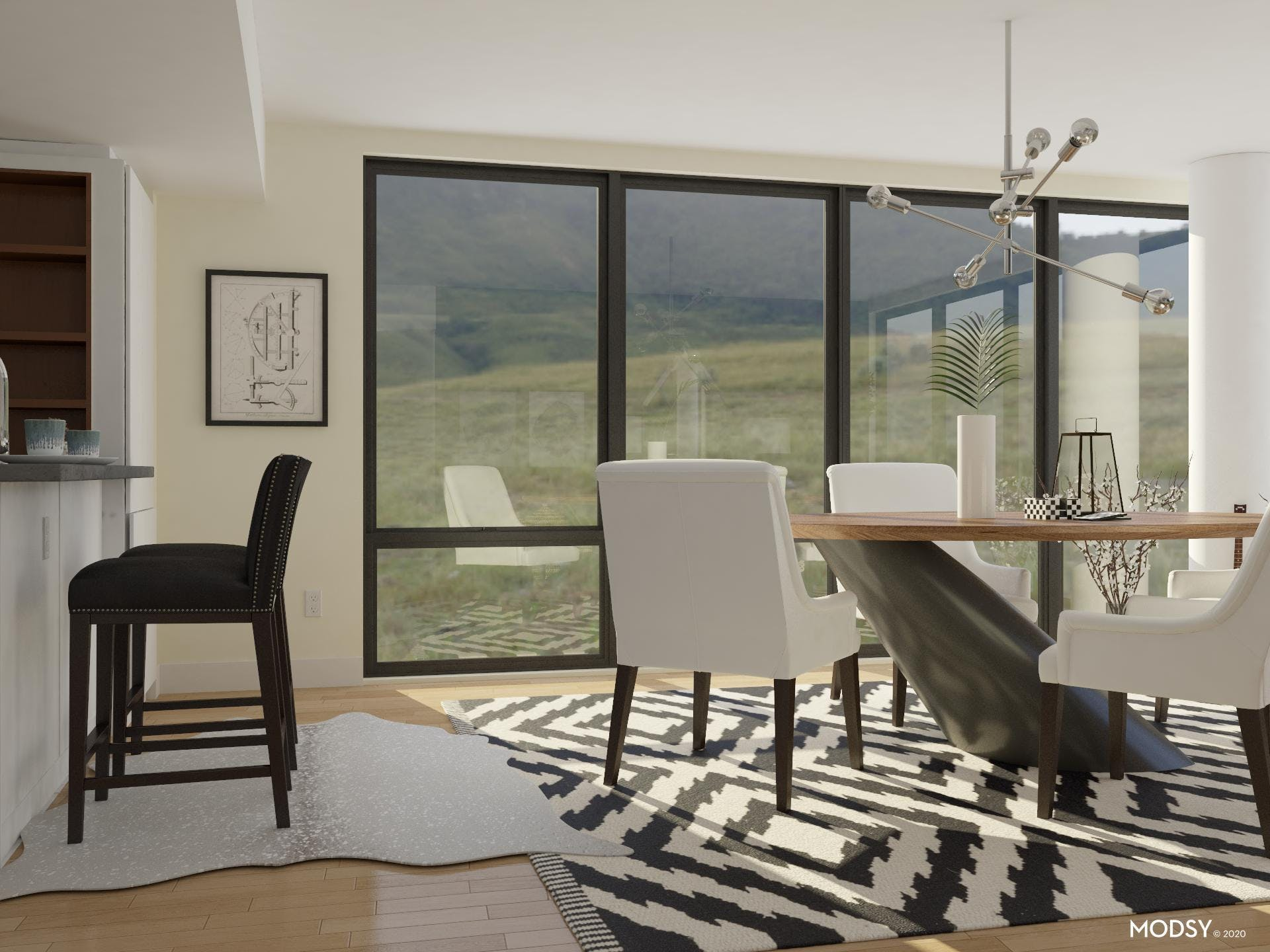 Extra Seating in Black and White Modern Dining Room