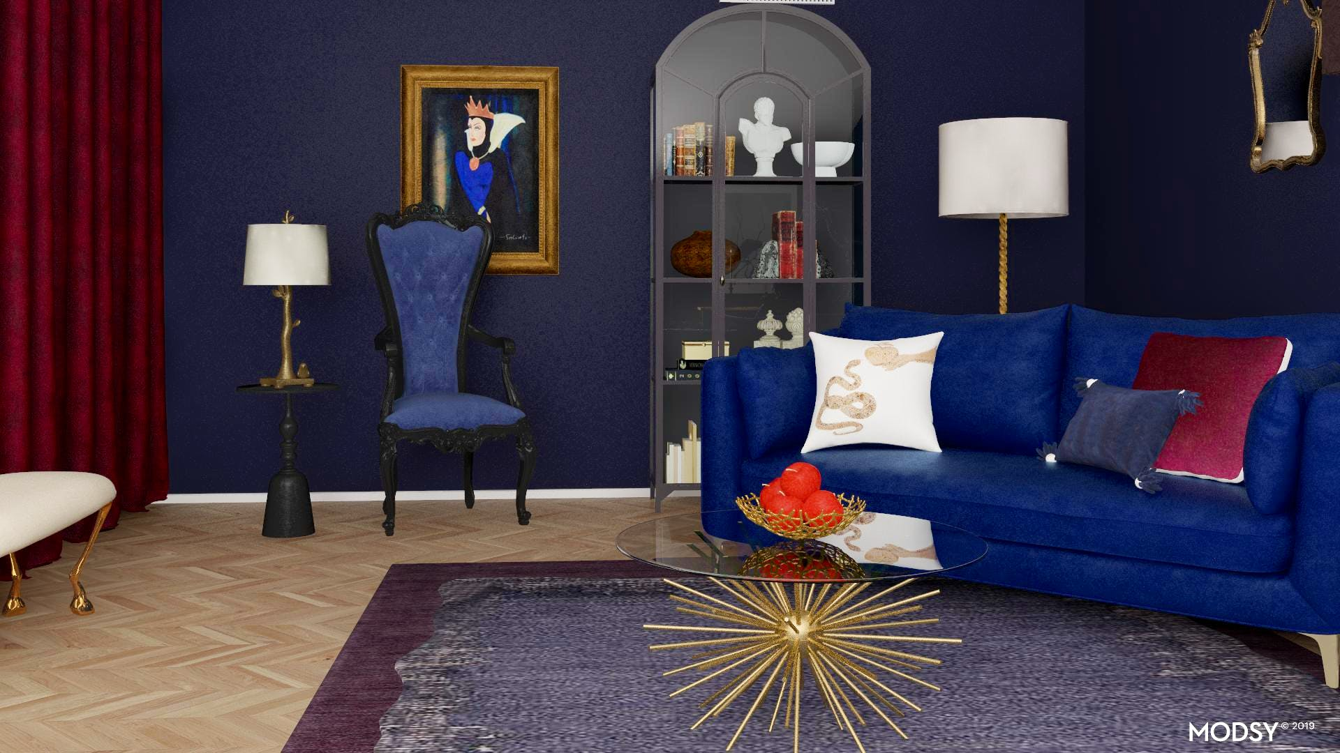Enchanted Sapphire Living Room Glam Style Living Room Design Ideas