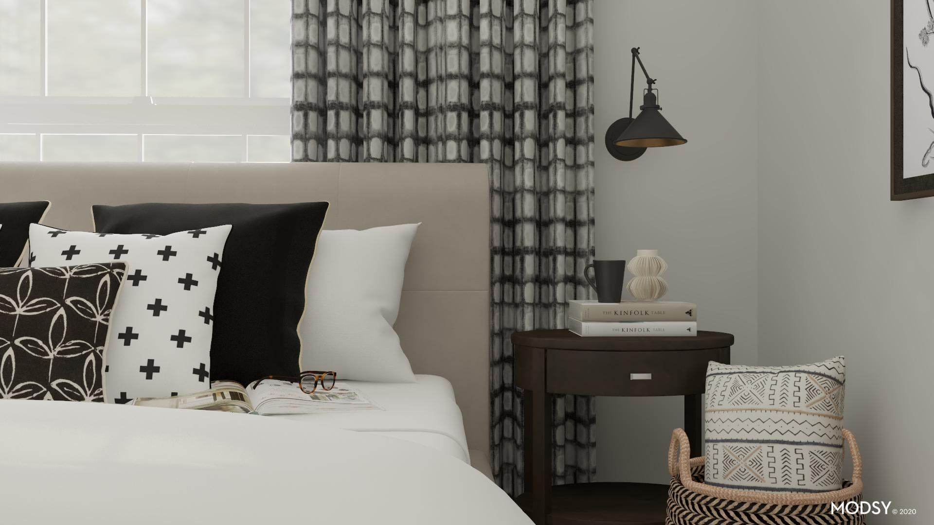 Black & White Traditional Bedroom With Warmth