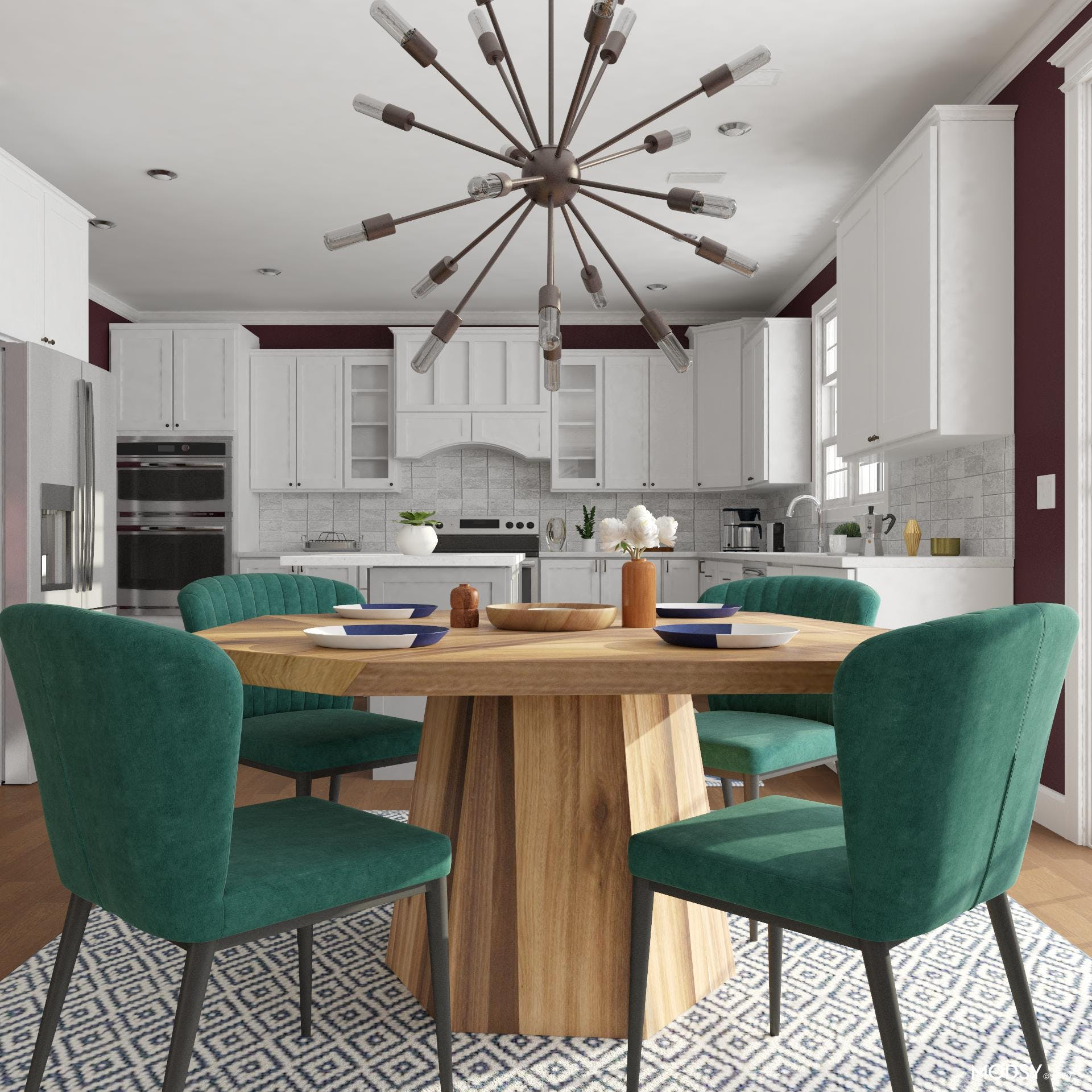 Jewel-Toned Eat-In Kitchen