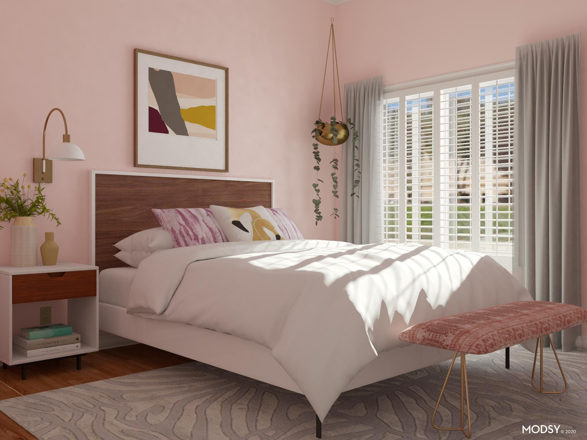 Mid-Century-Modern Bedroom in Pink