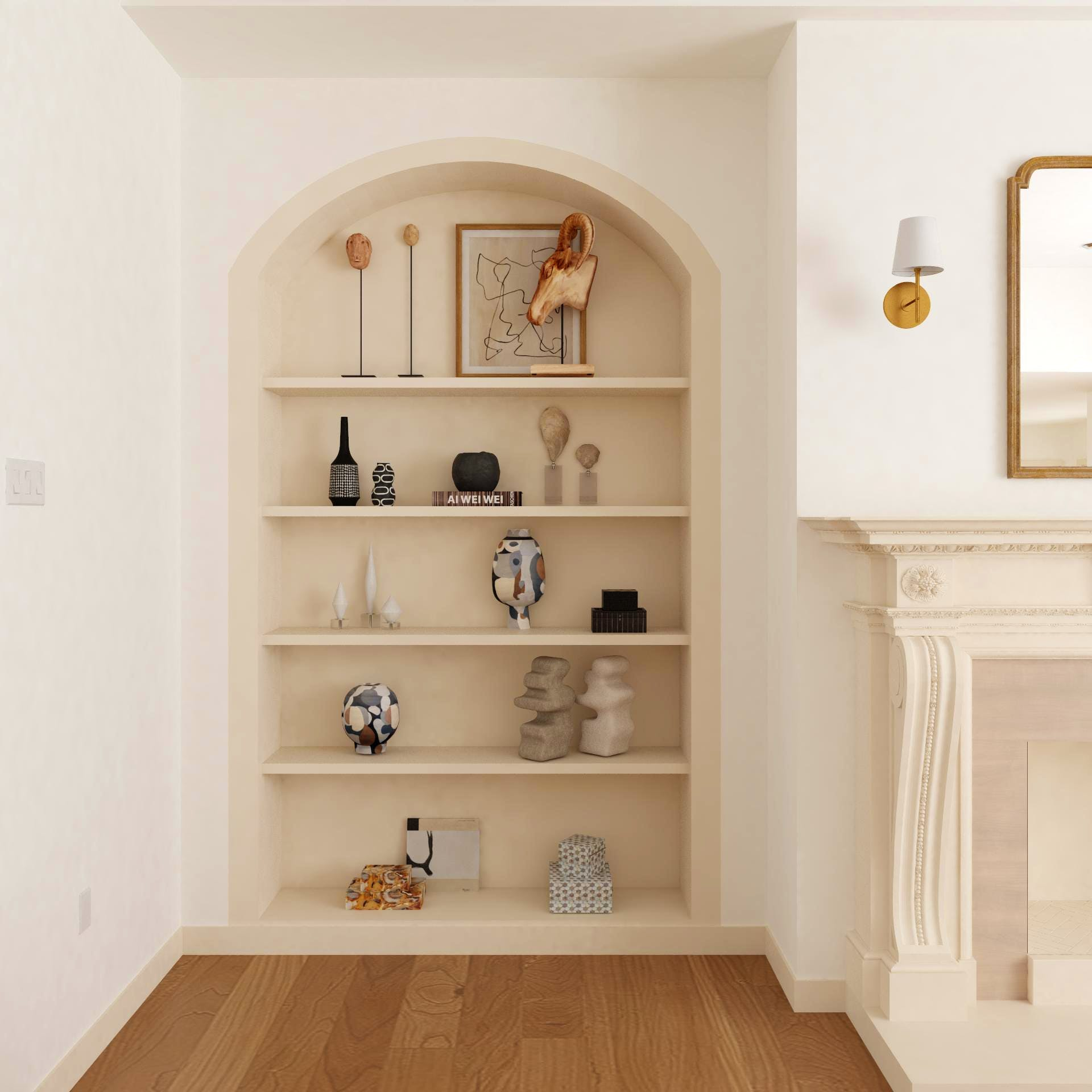 Shelves With Sculptural Objects