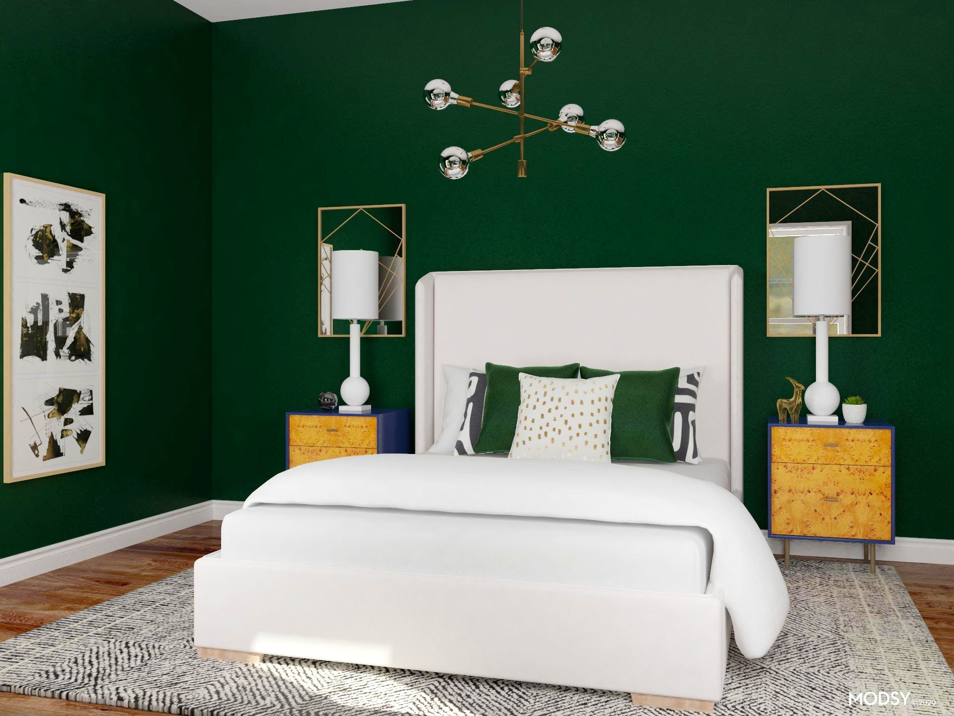 Glam Bedroom in Deep Emerald Shade
