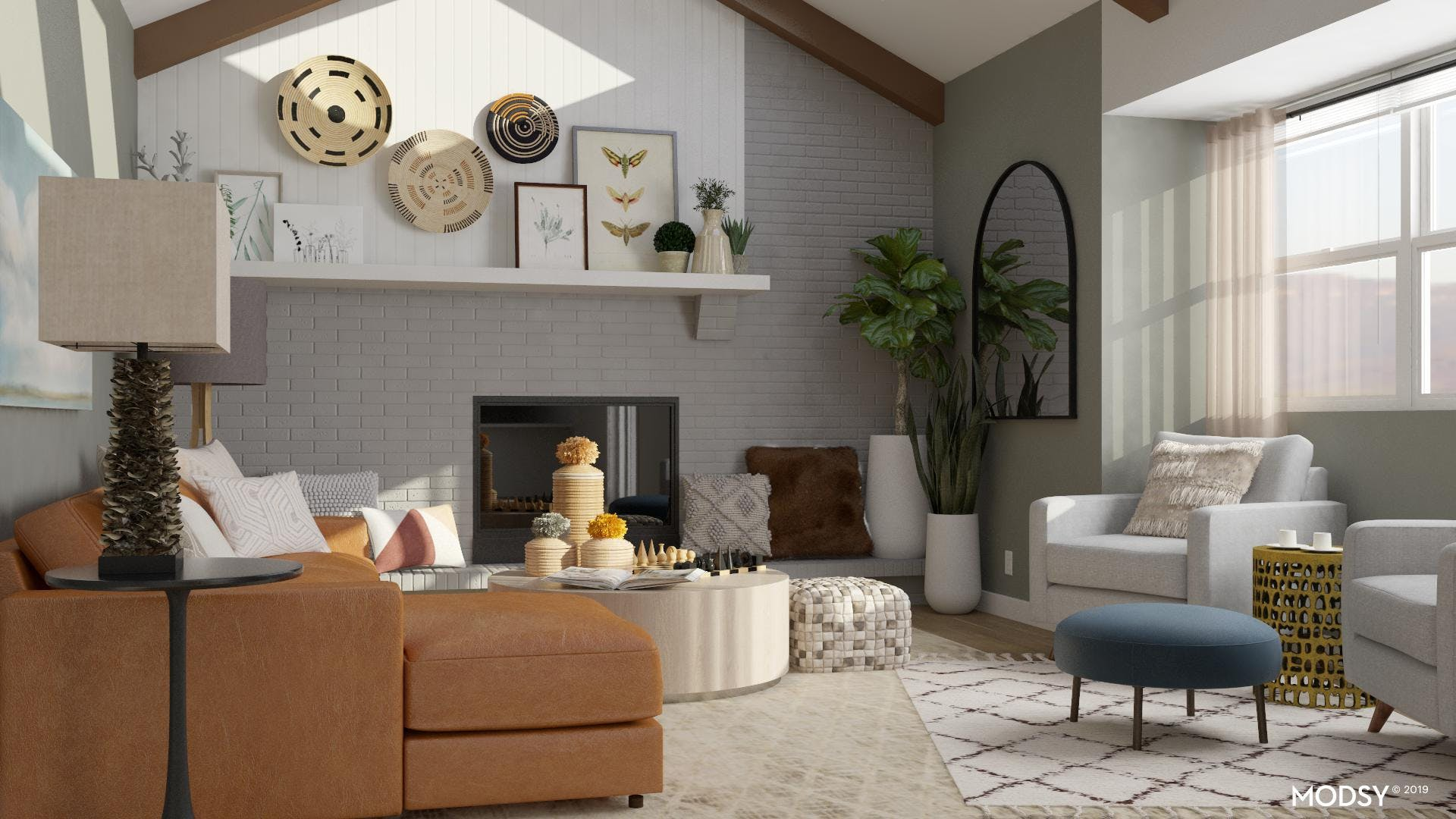 Eclectic living room that isn't too busy