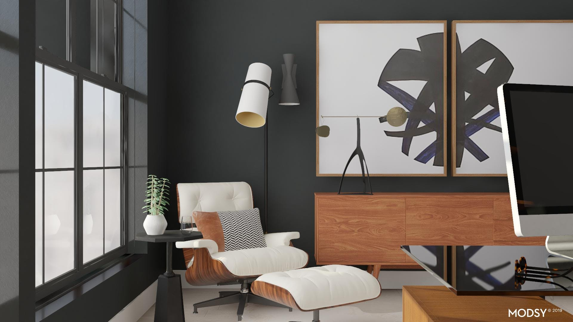 Mid-Century Modern Masculine Office In Black and White