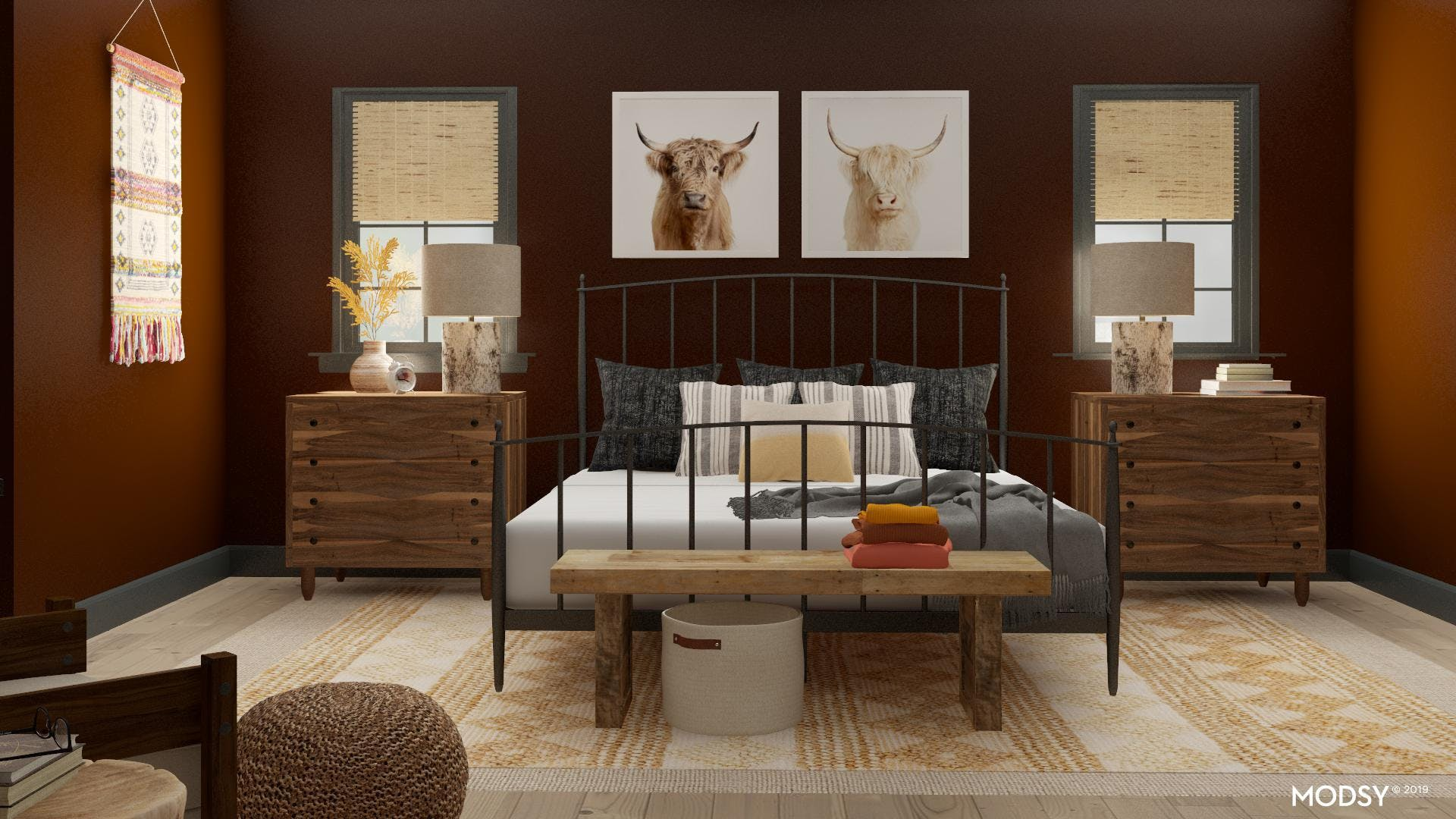 Modern Rustic Bedroom with a Textural Twist