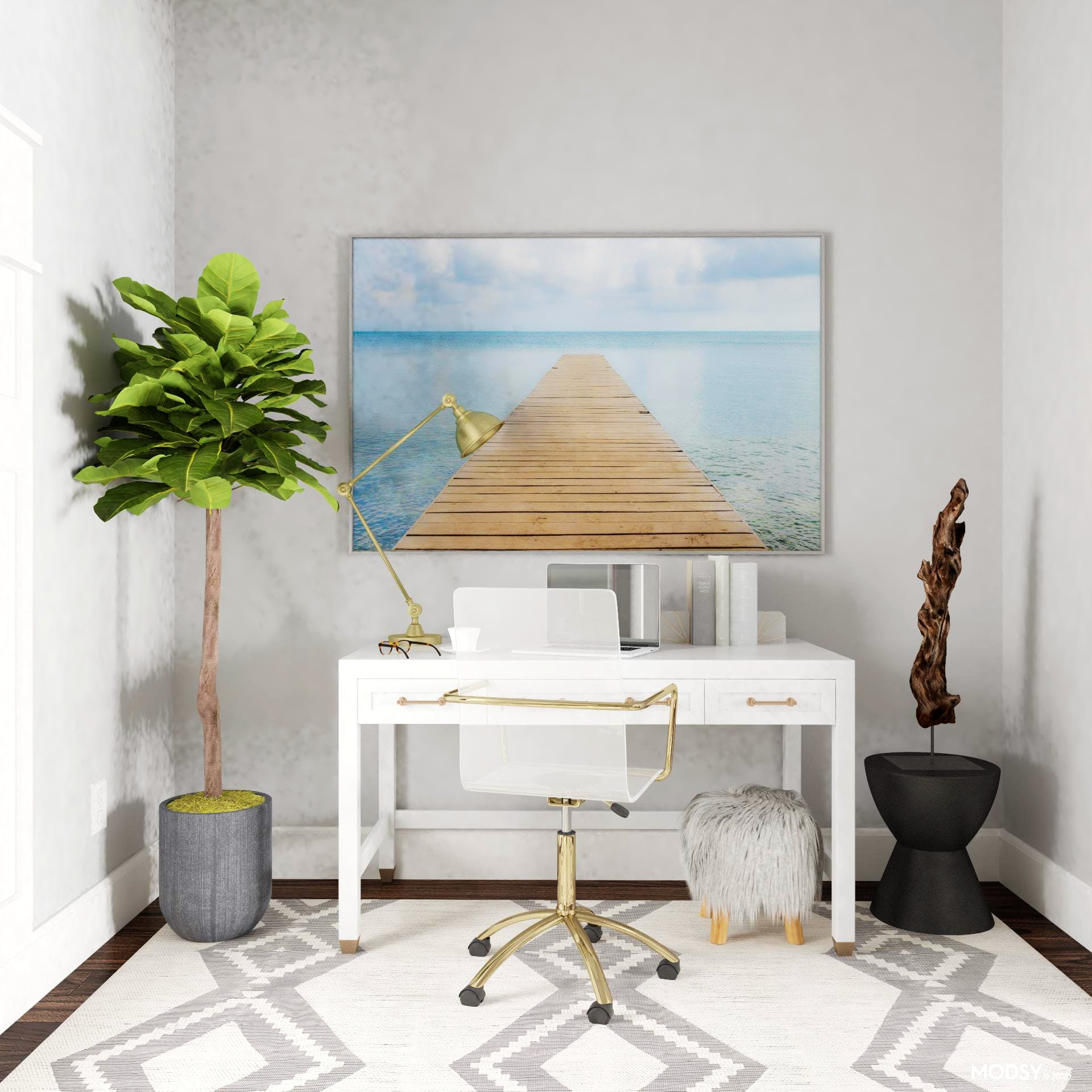 Eclectic Office In Welcoming Neutrals