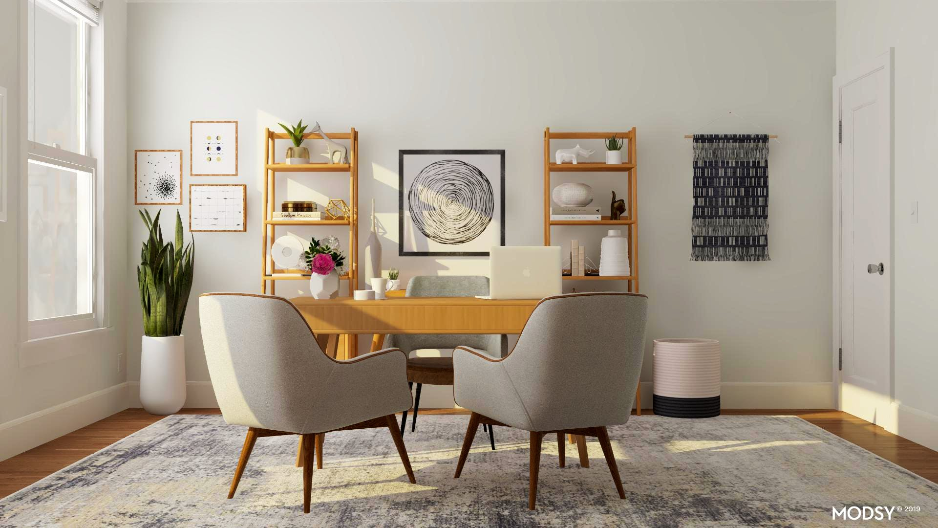 Classic Light And Airy Mid-Century Modern Office