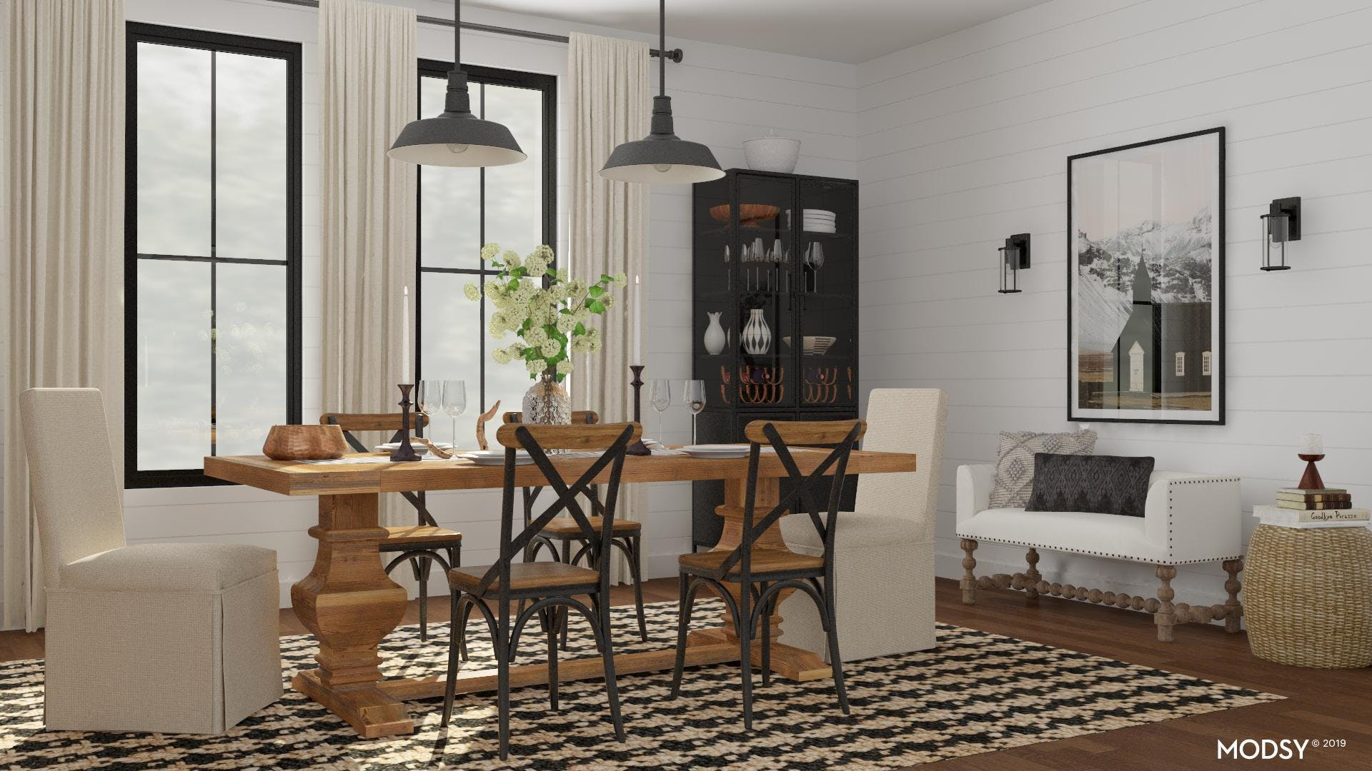 Rustic Dining Room With Industrial Elements