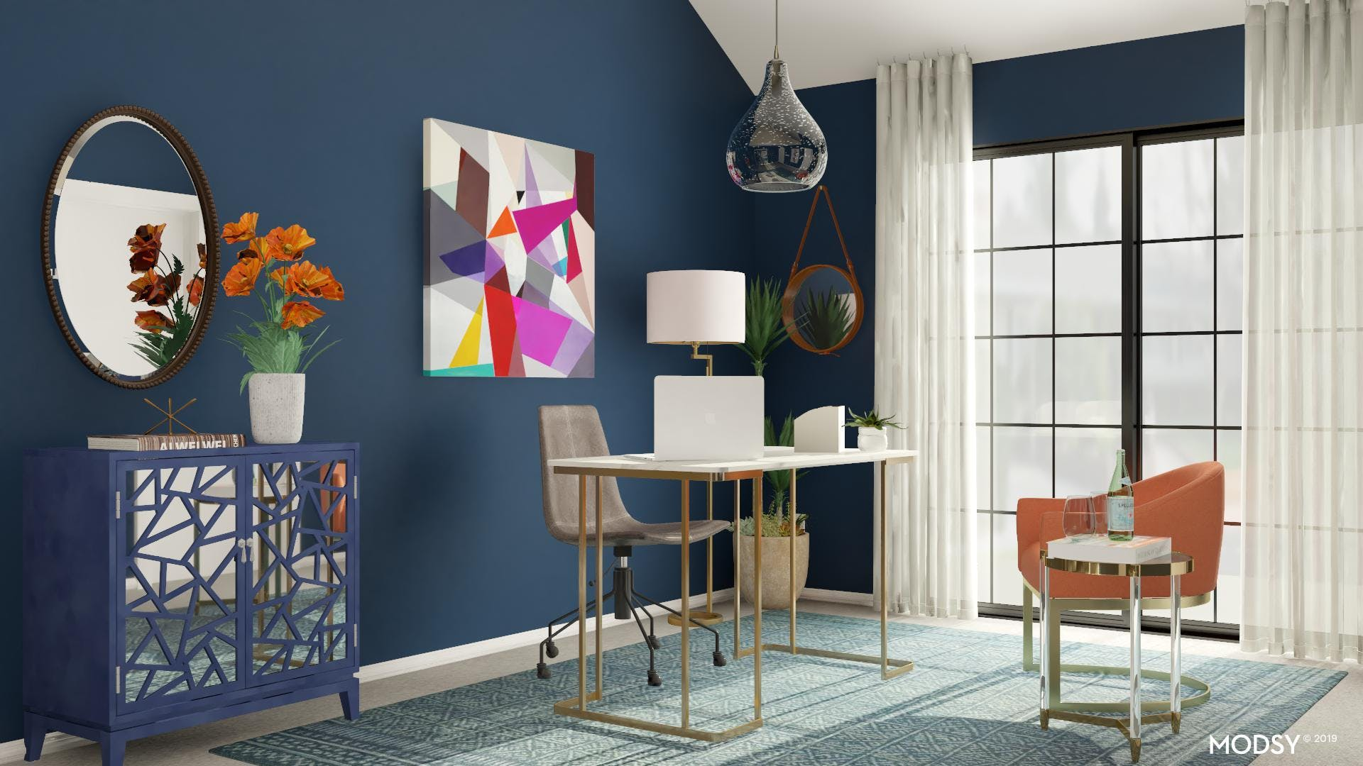 Mid-century Office with Vibrant Colors