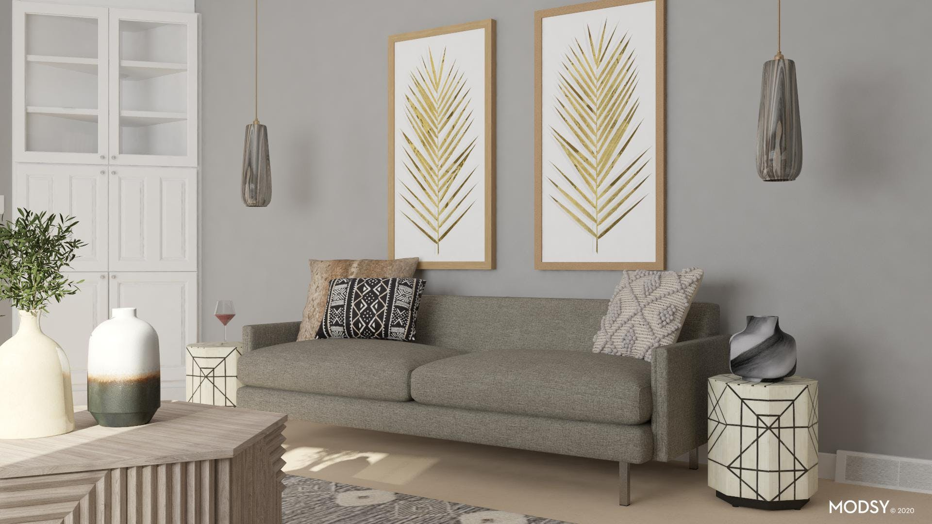 Neutral Eclectic Living Room Design