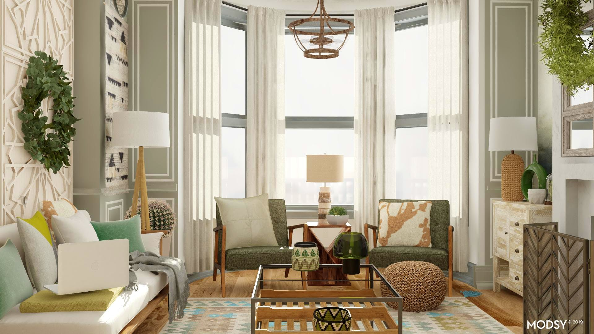 Go Green-Rustic Living Room