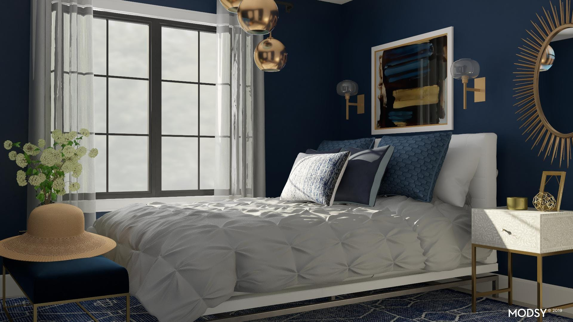 Glam and Moody Bedroom Design