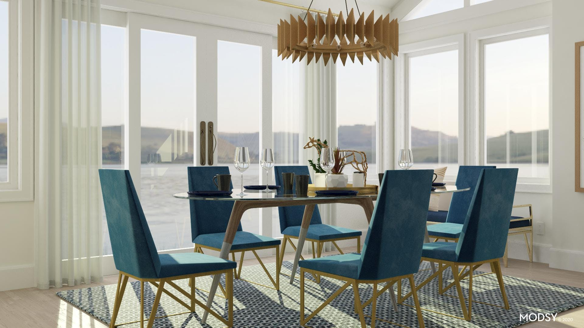 Statement Pieces in Glamorous Dining Room
