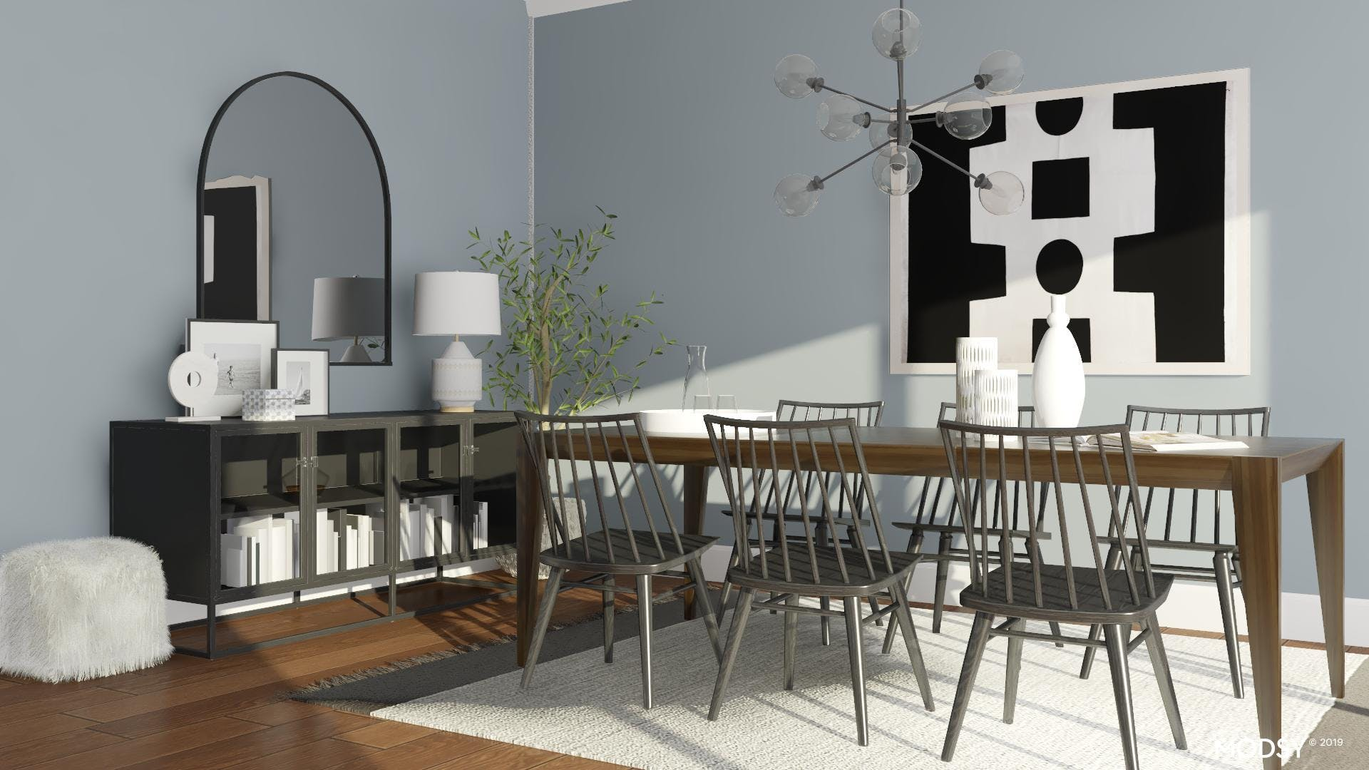 Kid Friendly Dining Room With Monochrome Colors