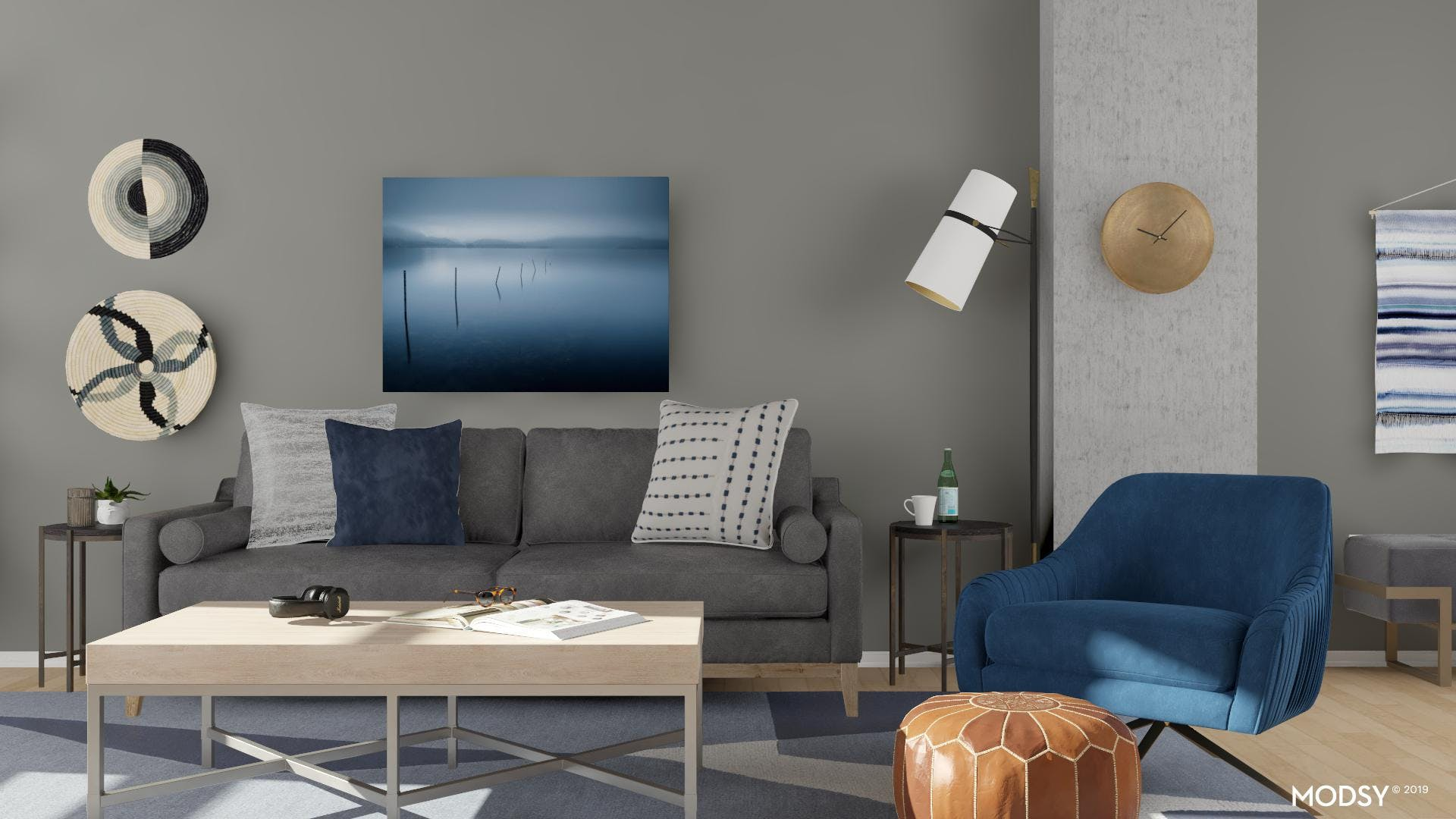 Neutral Seating Area with Pops of Blue