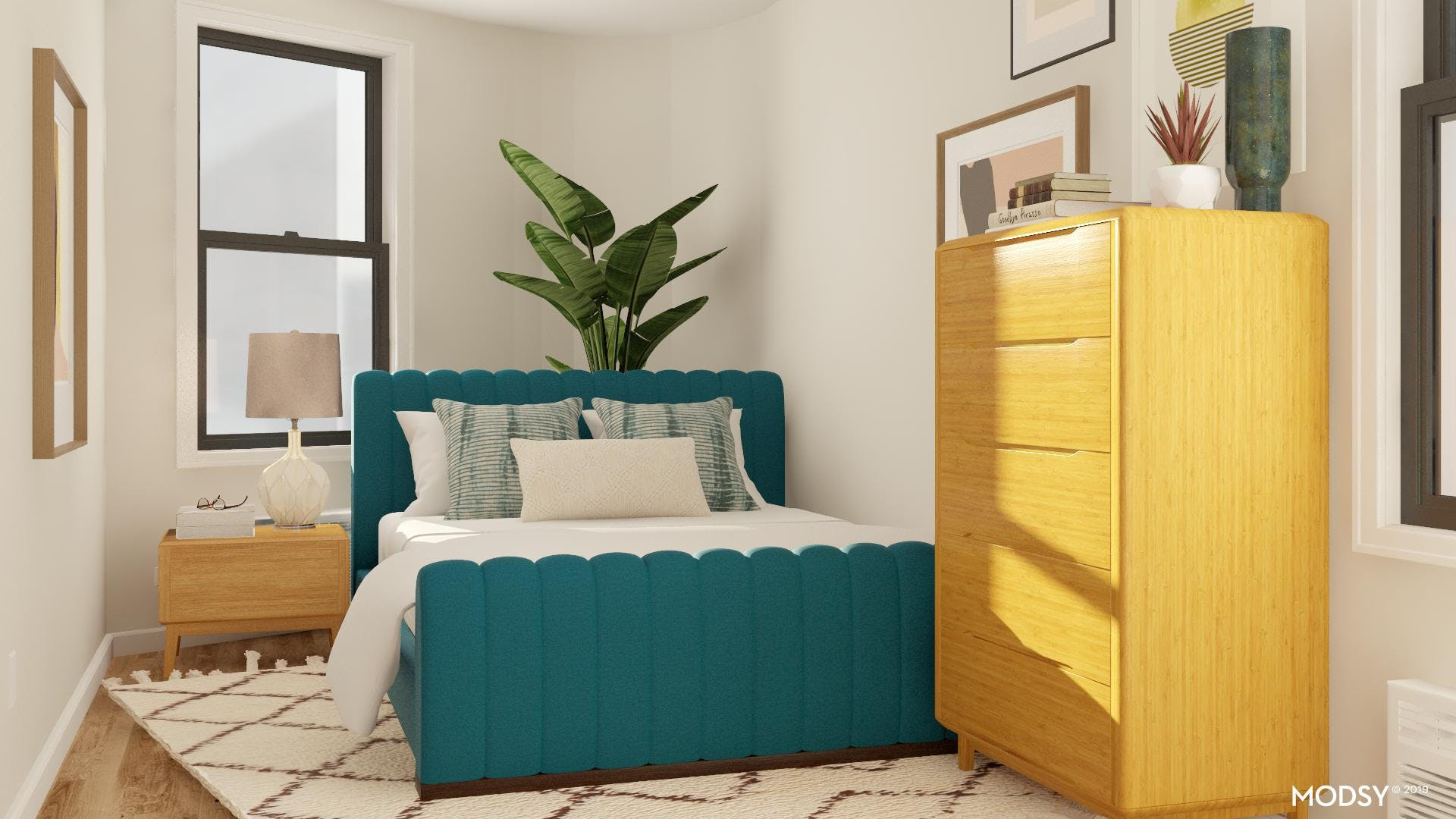Tricky Bedroom Layout with Mid-Century Style