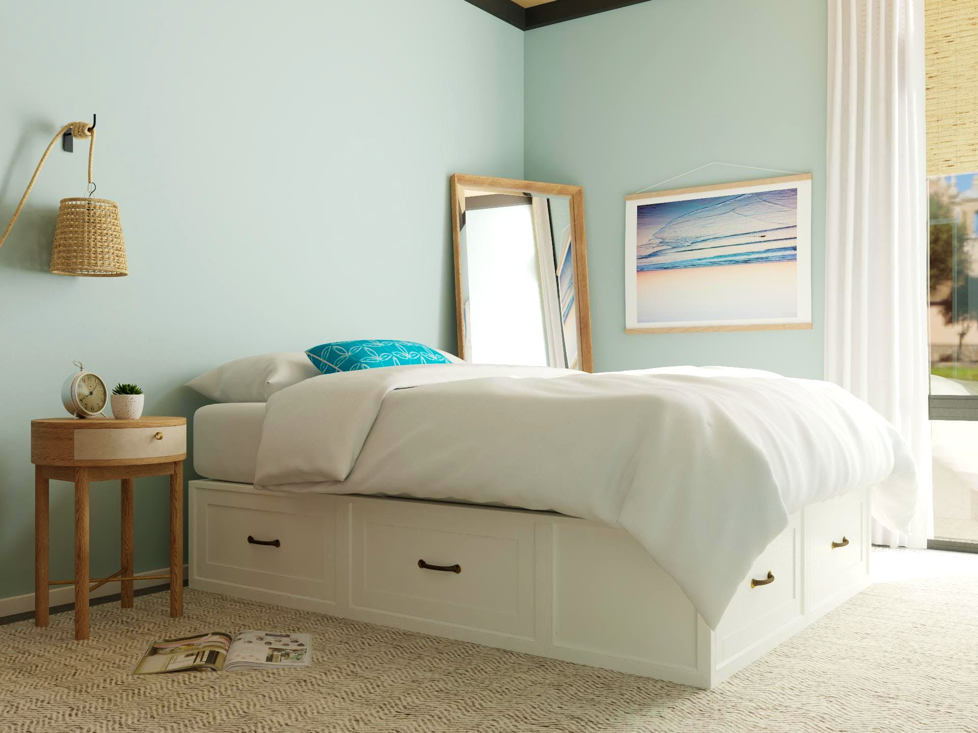 Mid-Century-Modern Bedroom in Blue with Storage Bed
