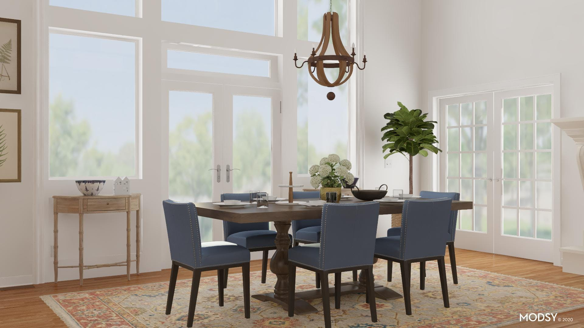 Traditional And Blue Dining Room