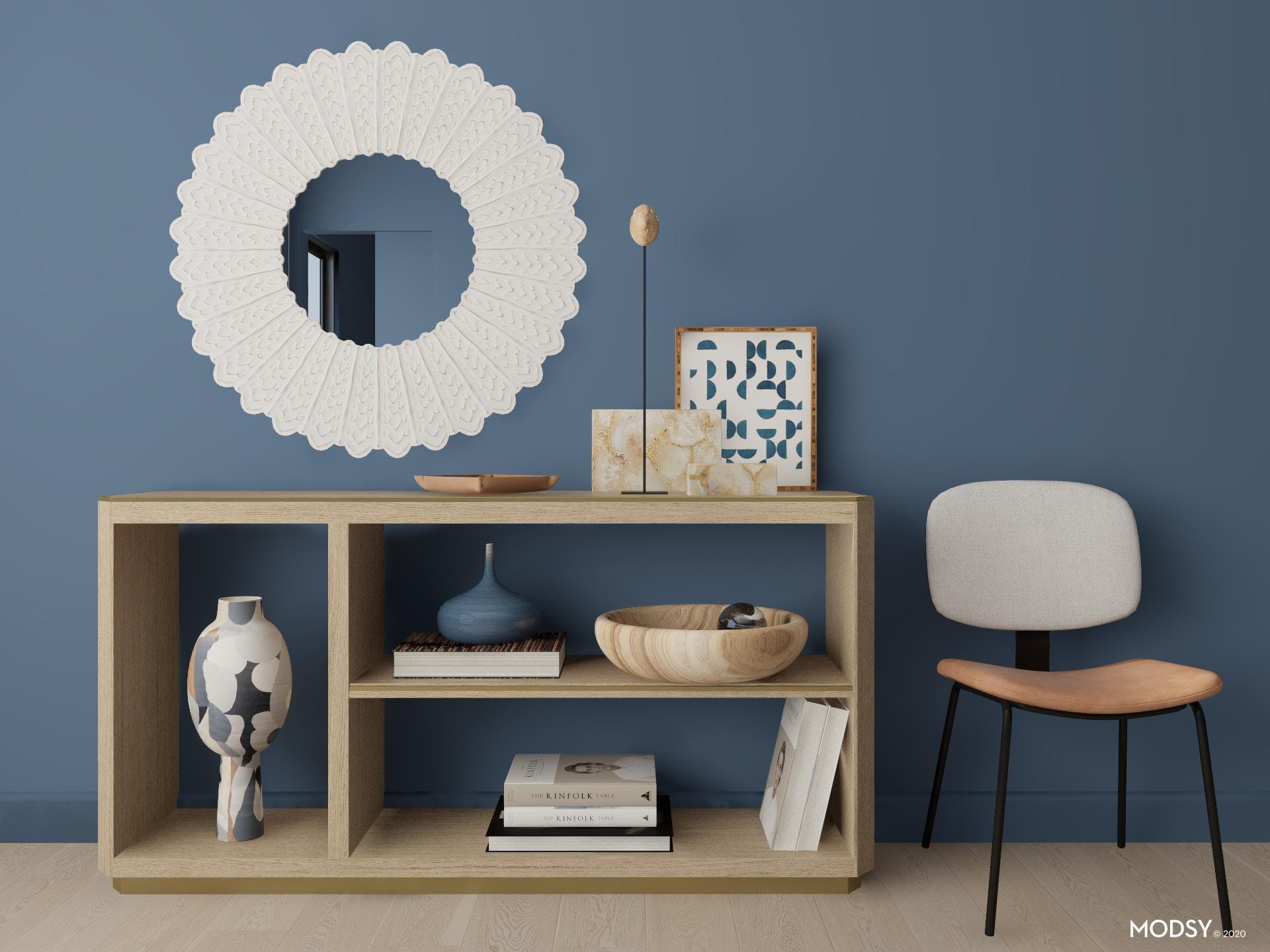 Small Entryway with Bold Mirror in Blue