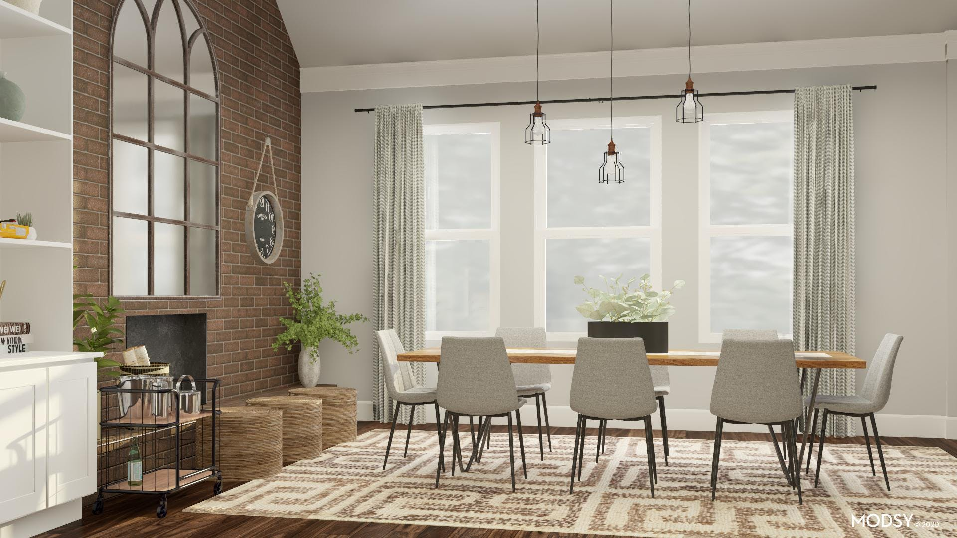 Neutral Industrial Dining Room Design