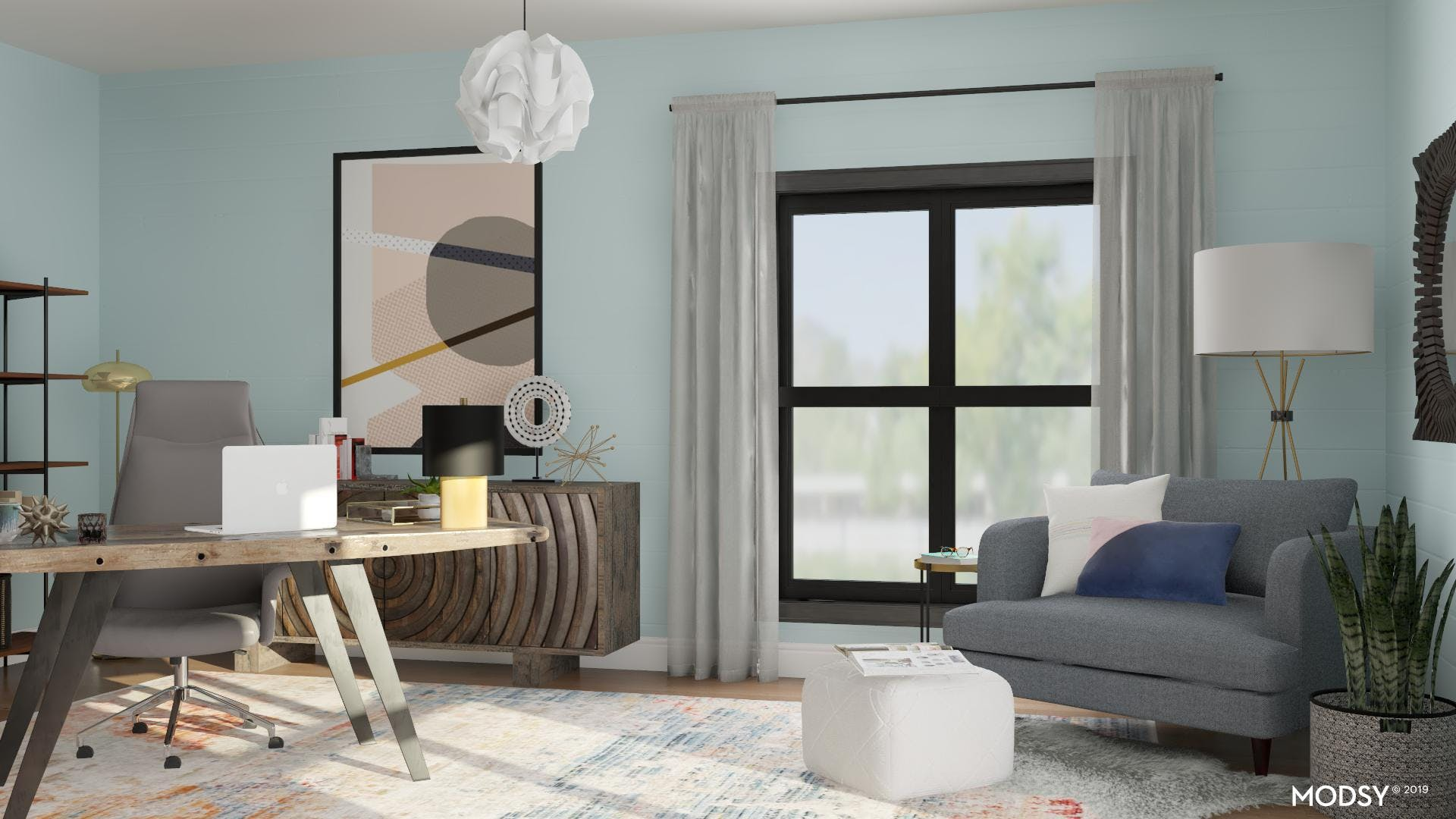 Home Office with Urban Pastels