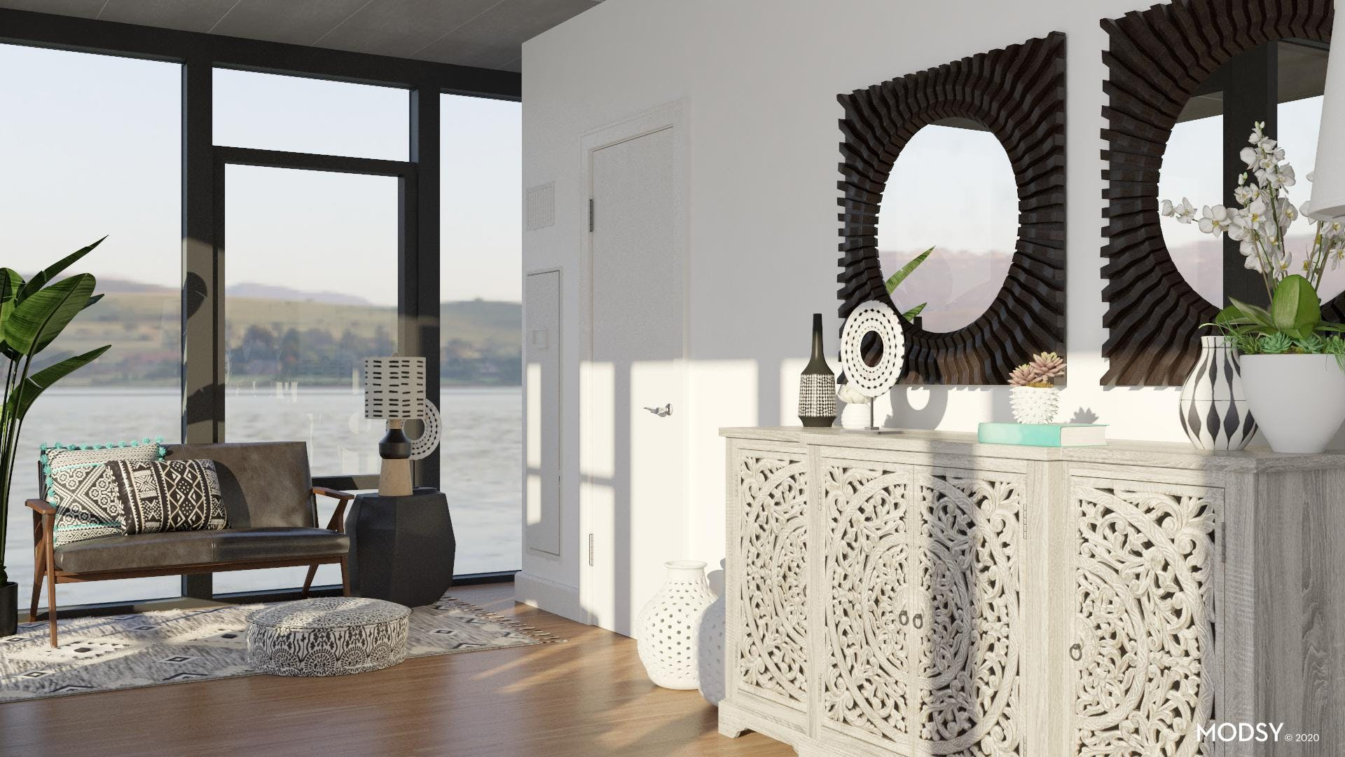Functional Black and White Eclectic Office