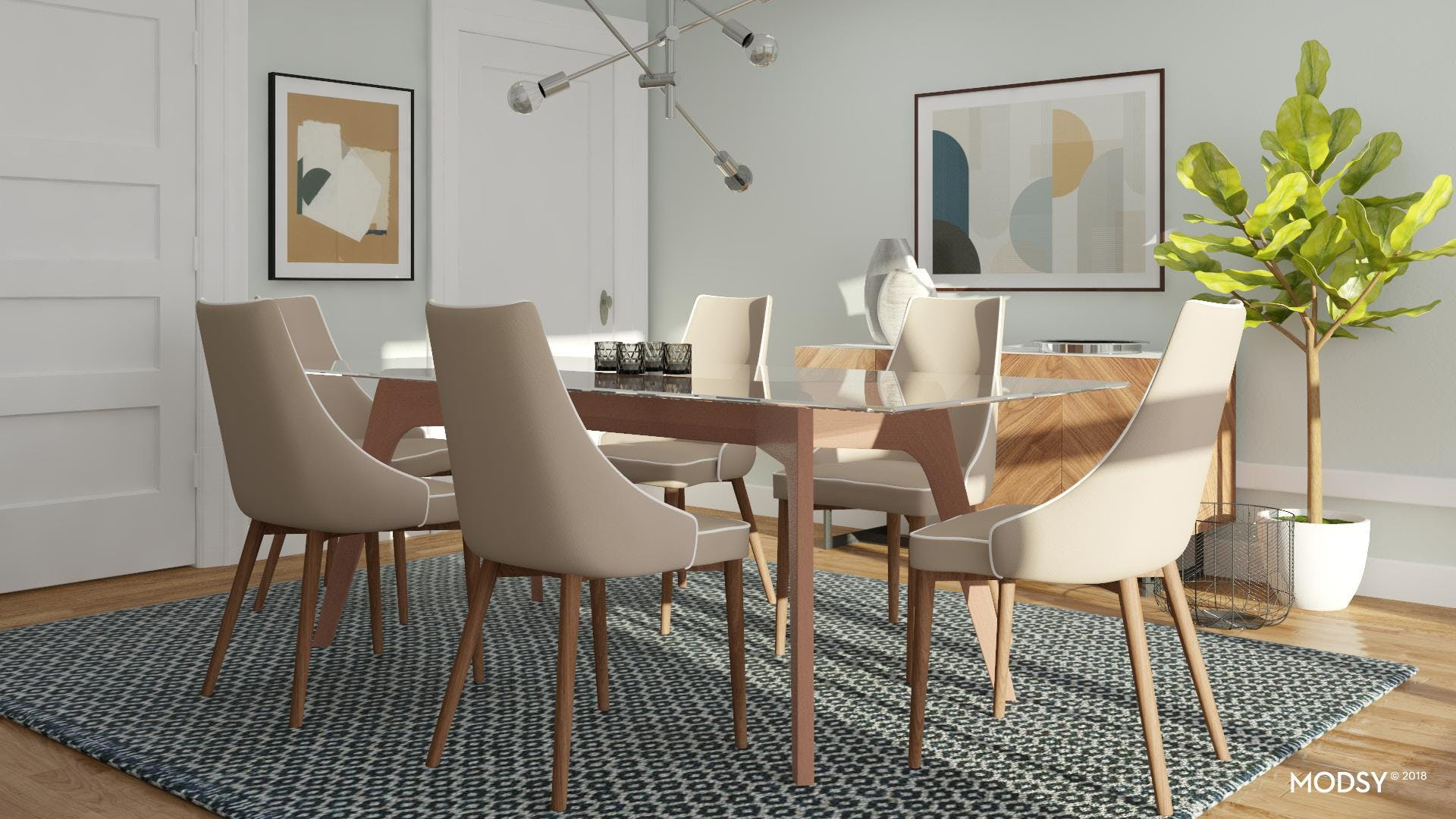 Contemporary Dining Room With Artful Edge