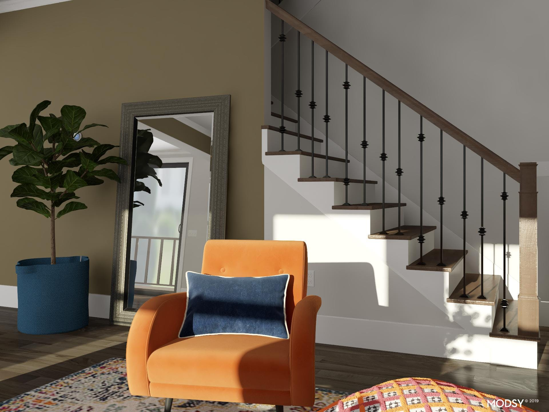 Multicolor Living Room: Eclectic Accents