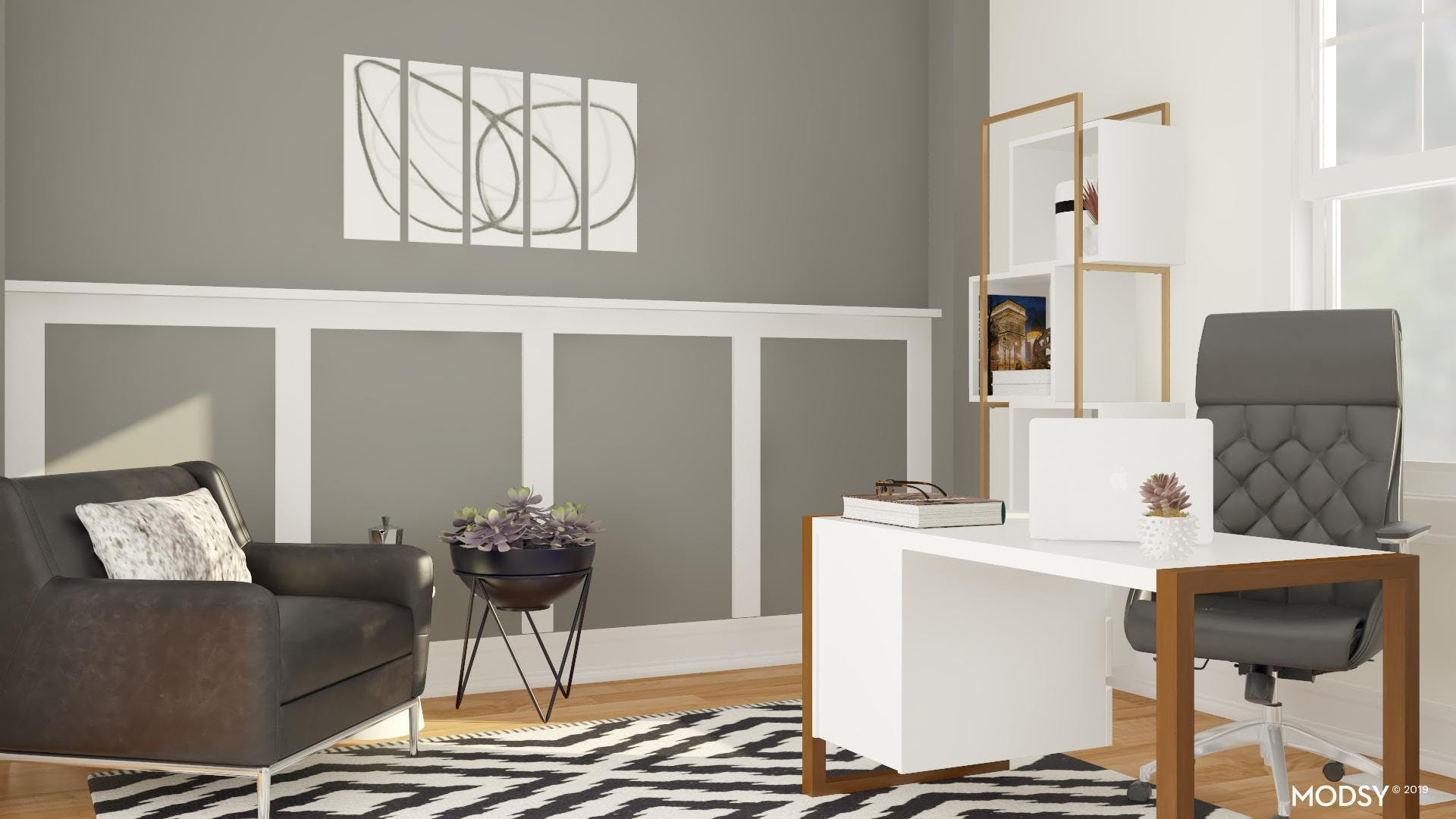 Modern Black And White Office