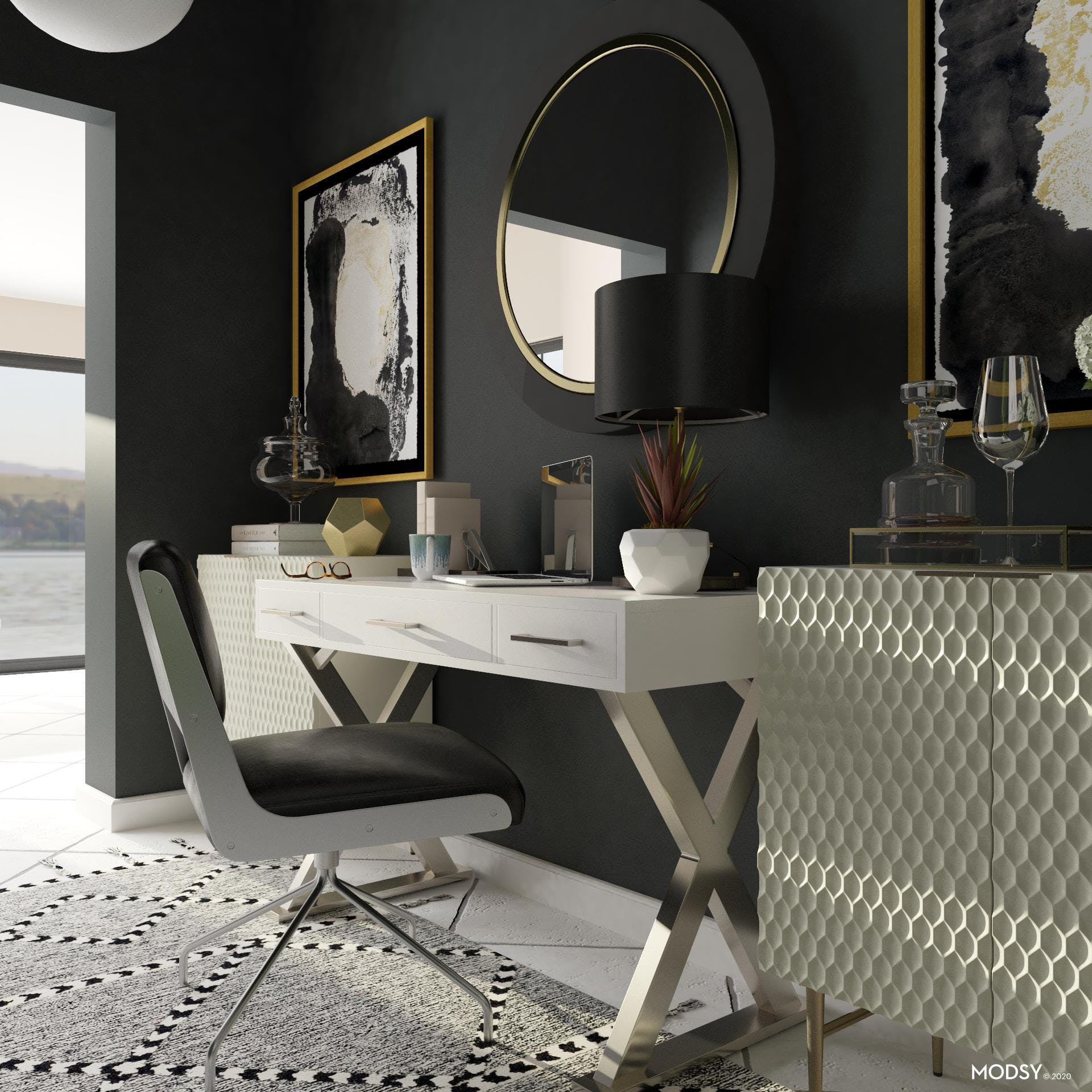 Patterns and Textures In Glam Black and White Office