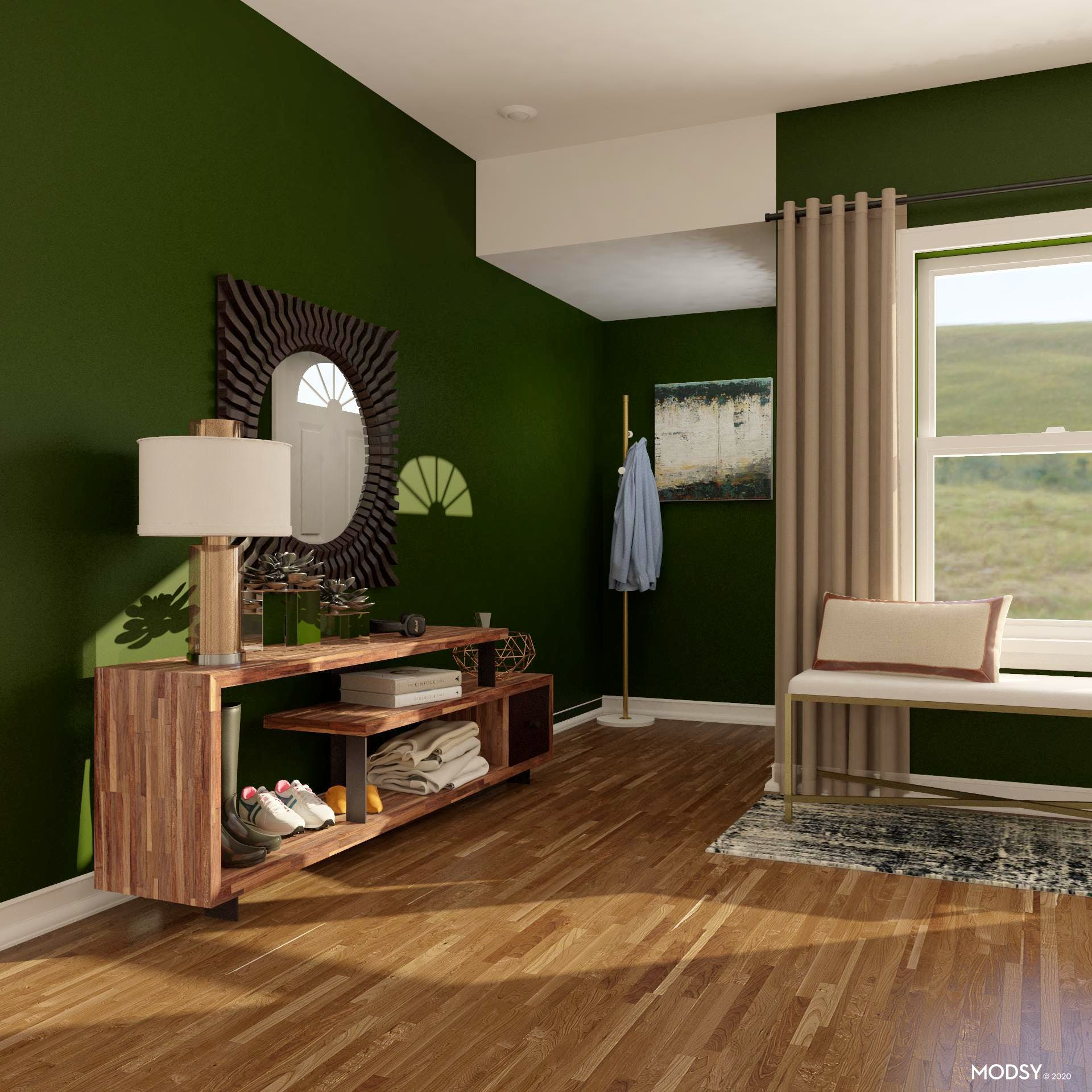 A Beautiful Modern, Bold Green Entry
