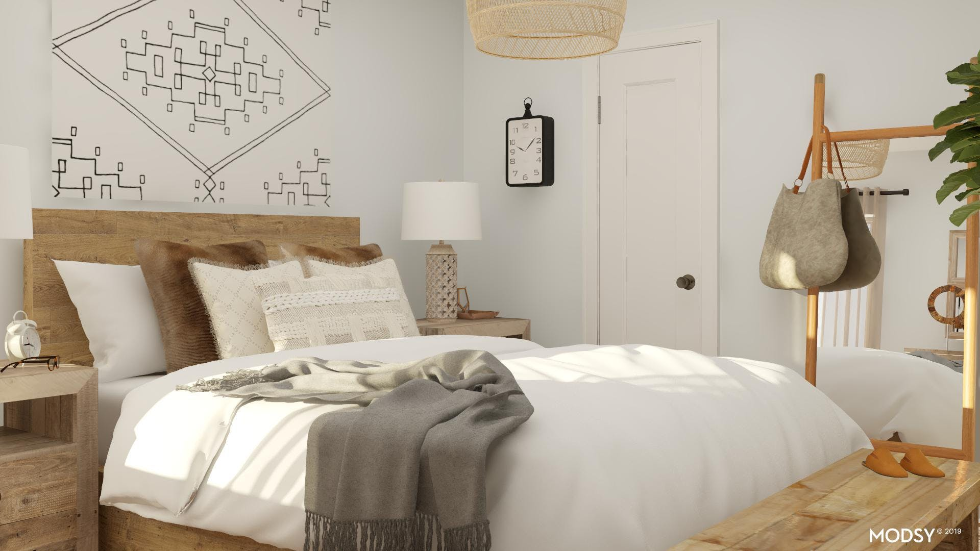 Neutral And Natural Farmhouse Bedroom