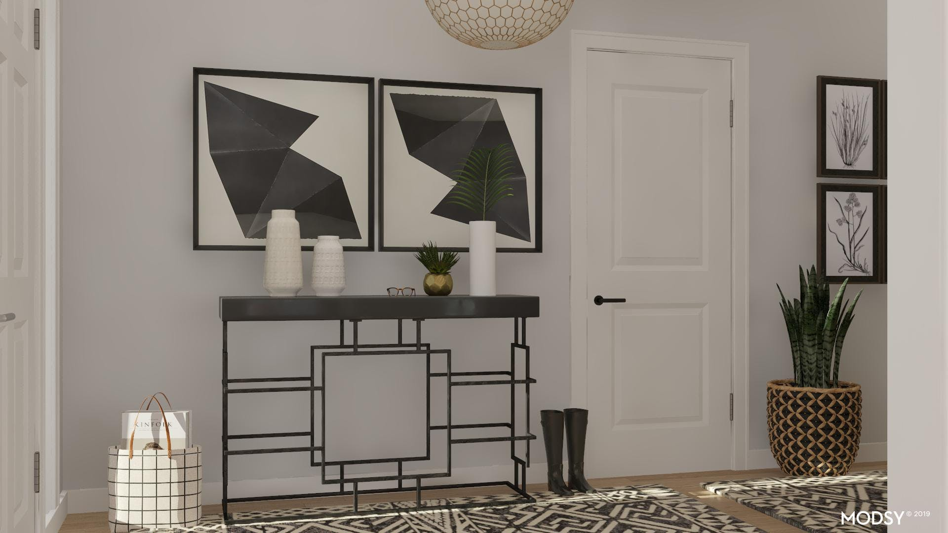 Chic Black And White Entry