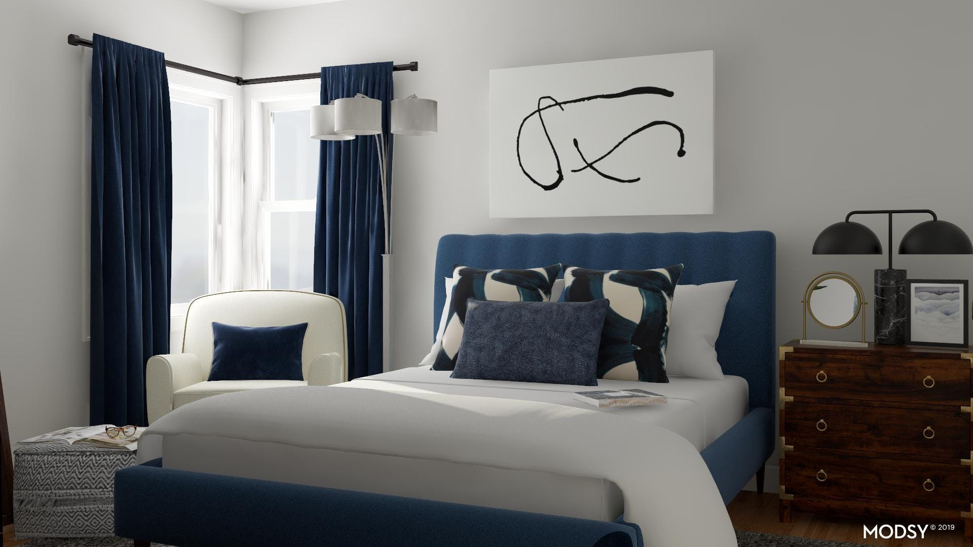 Sophisticated and Contemporary Blue Bedroom