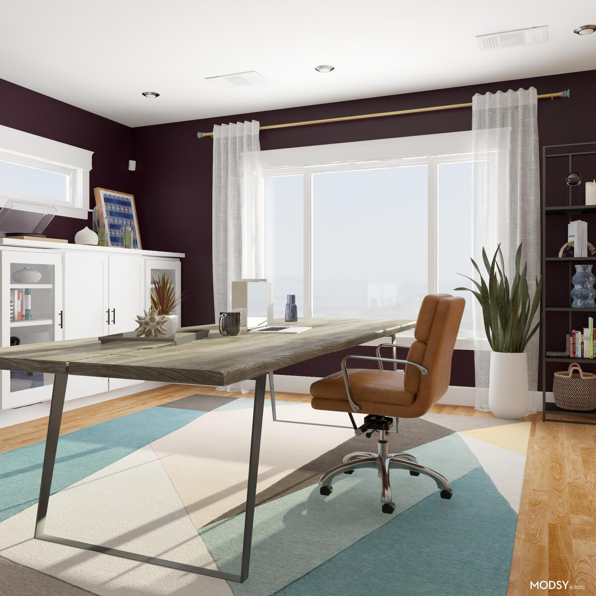 A Colorful Office With Industrial Lines