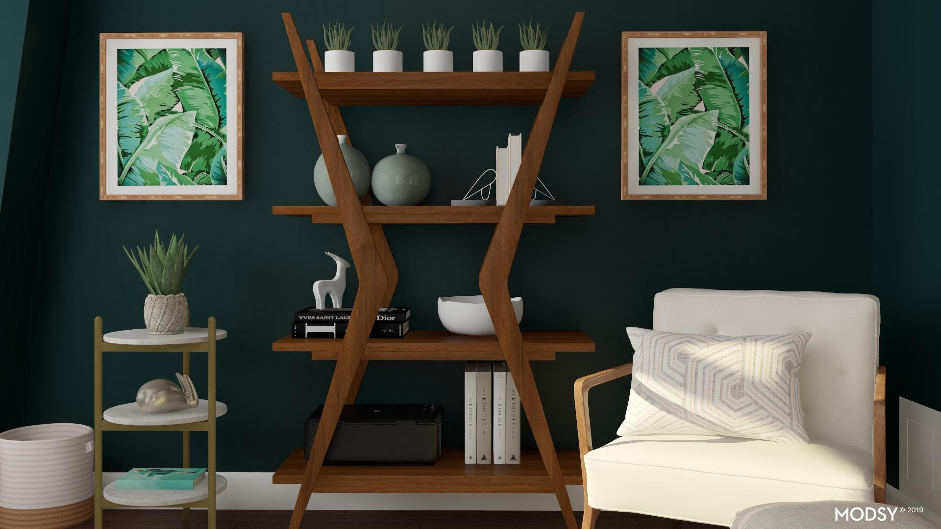 Styling With Plants - Mid Century Mod Bookcase