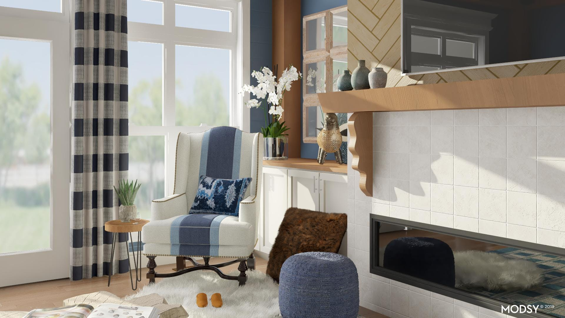 Blue And White Eclectic Living