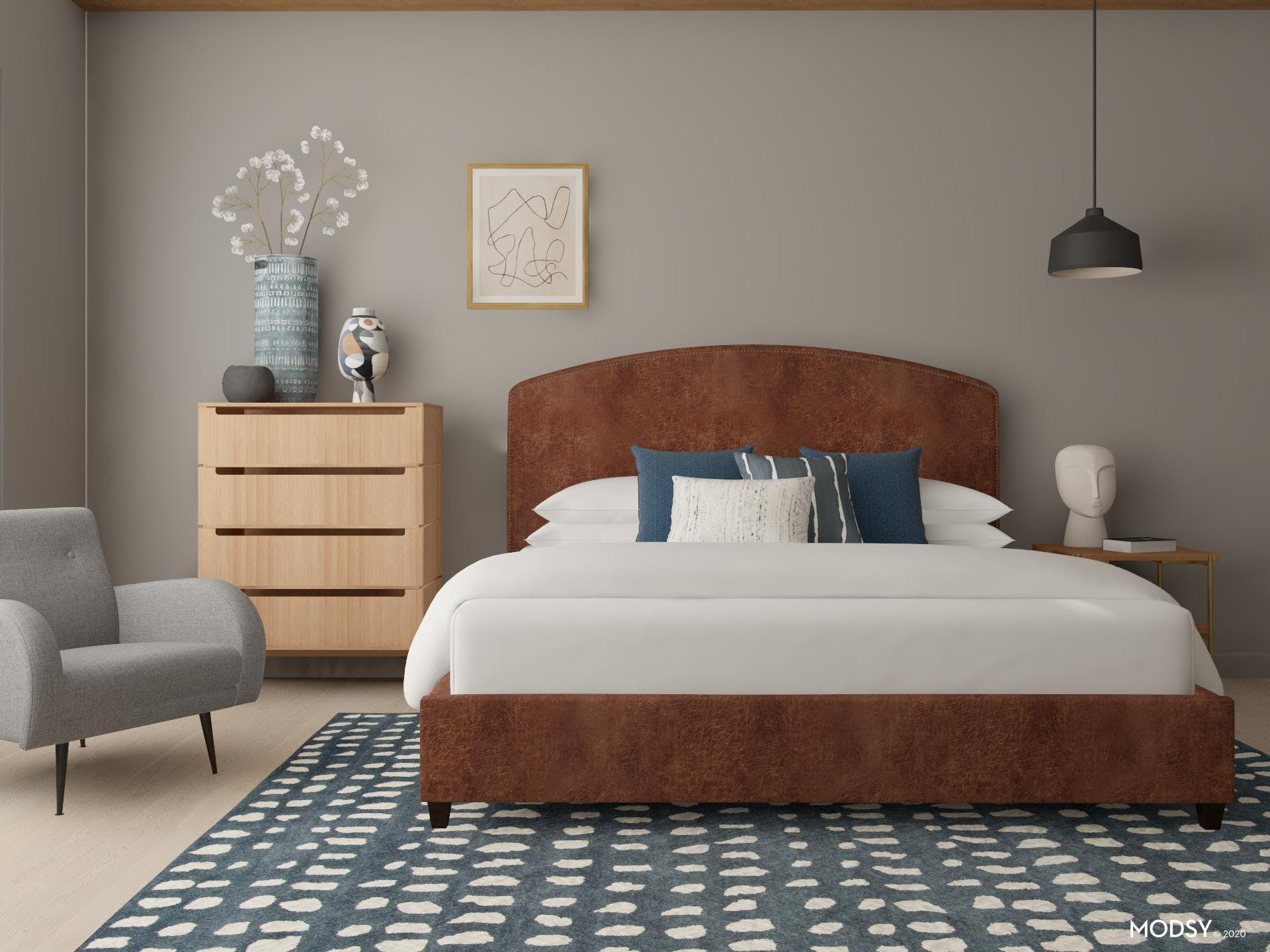 Organic Modern Bedroom with Leather Upholstered Bed in Gray