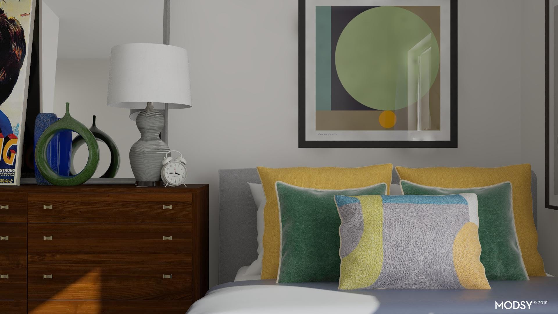 Layering Bright Pillows For A Mod Look