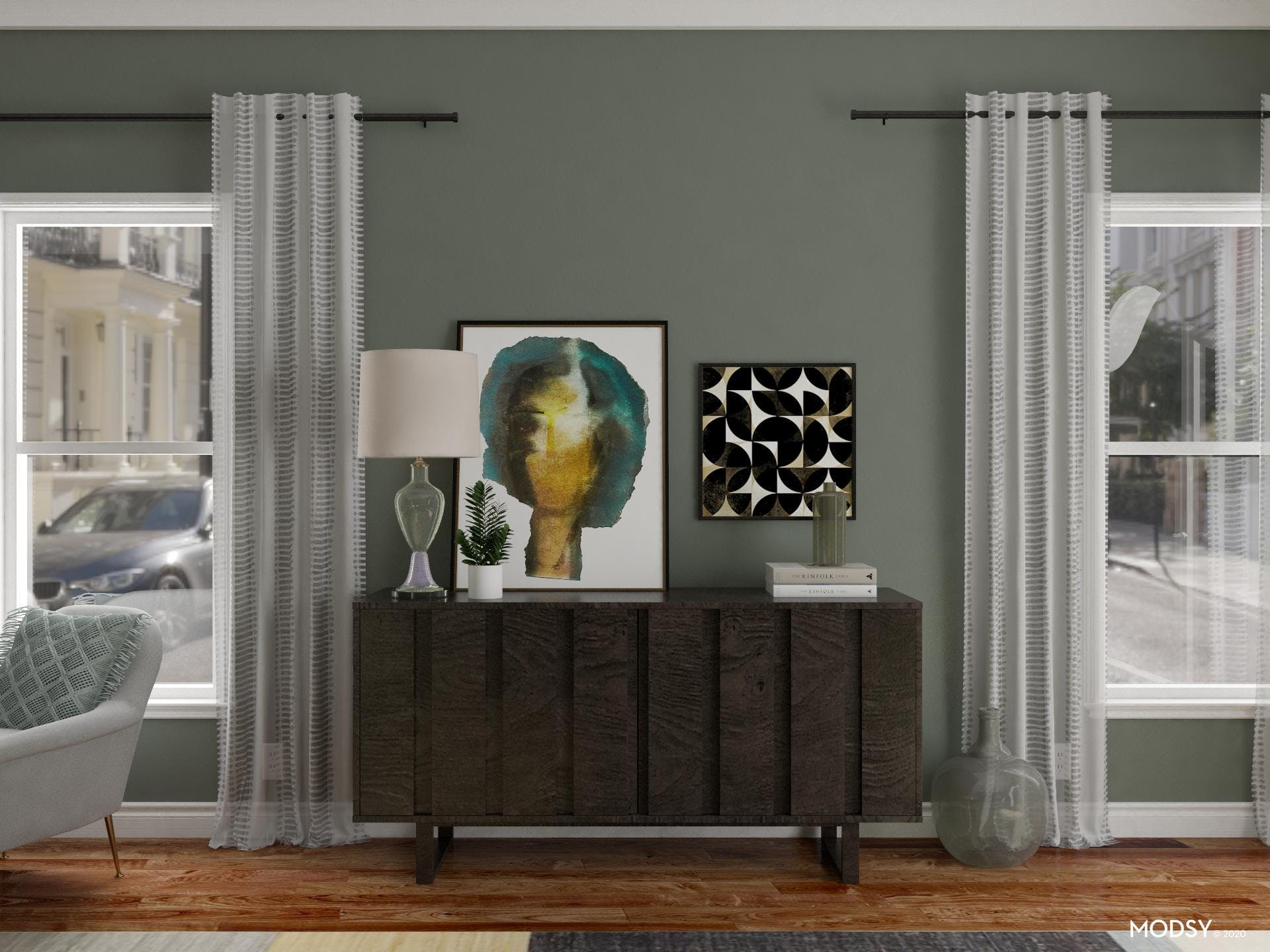 Fun Styling For Eclectic Sideboard