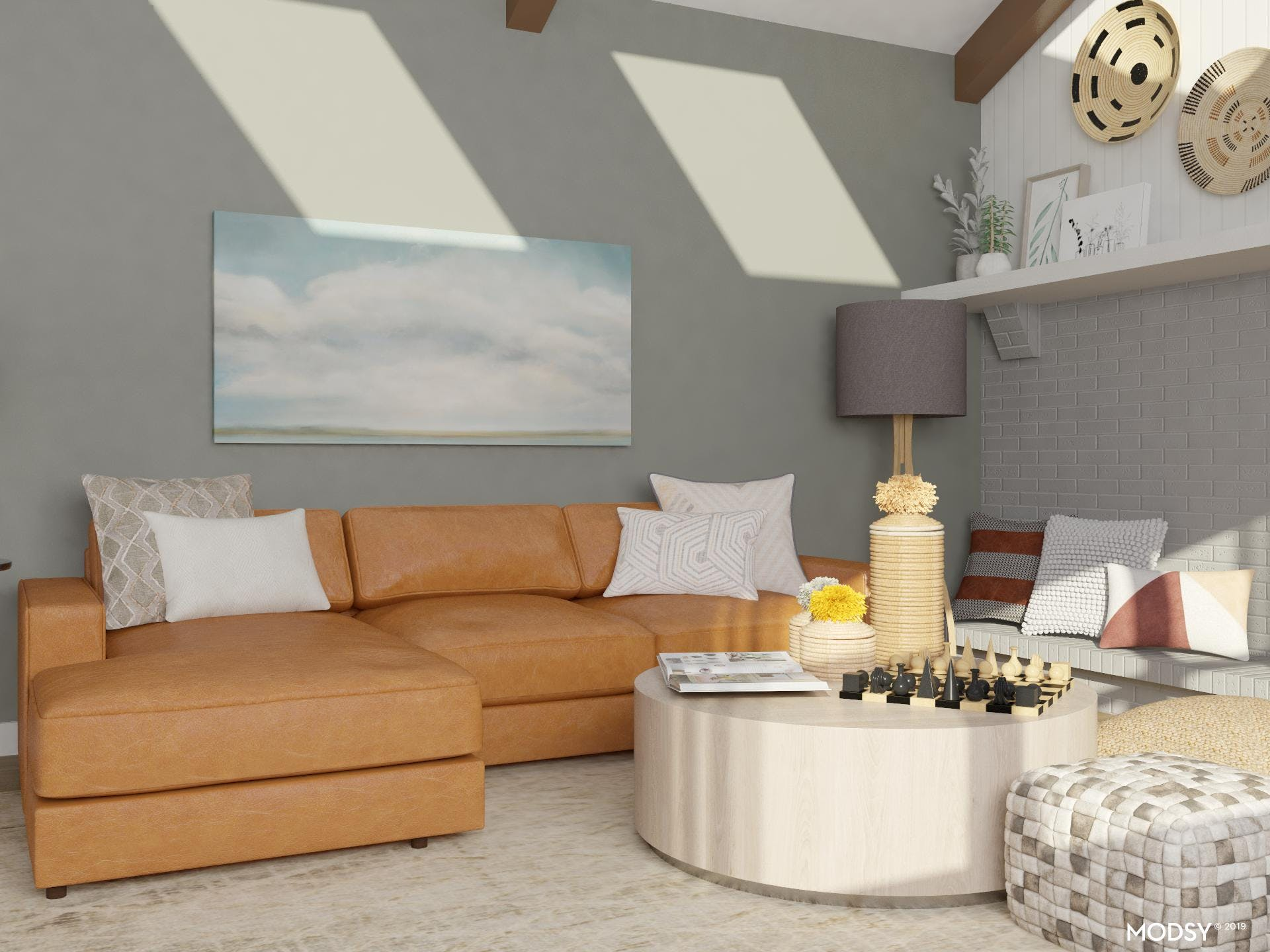 Bold sofa subdued with neutral accents