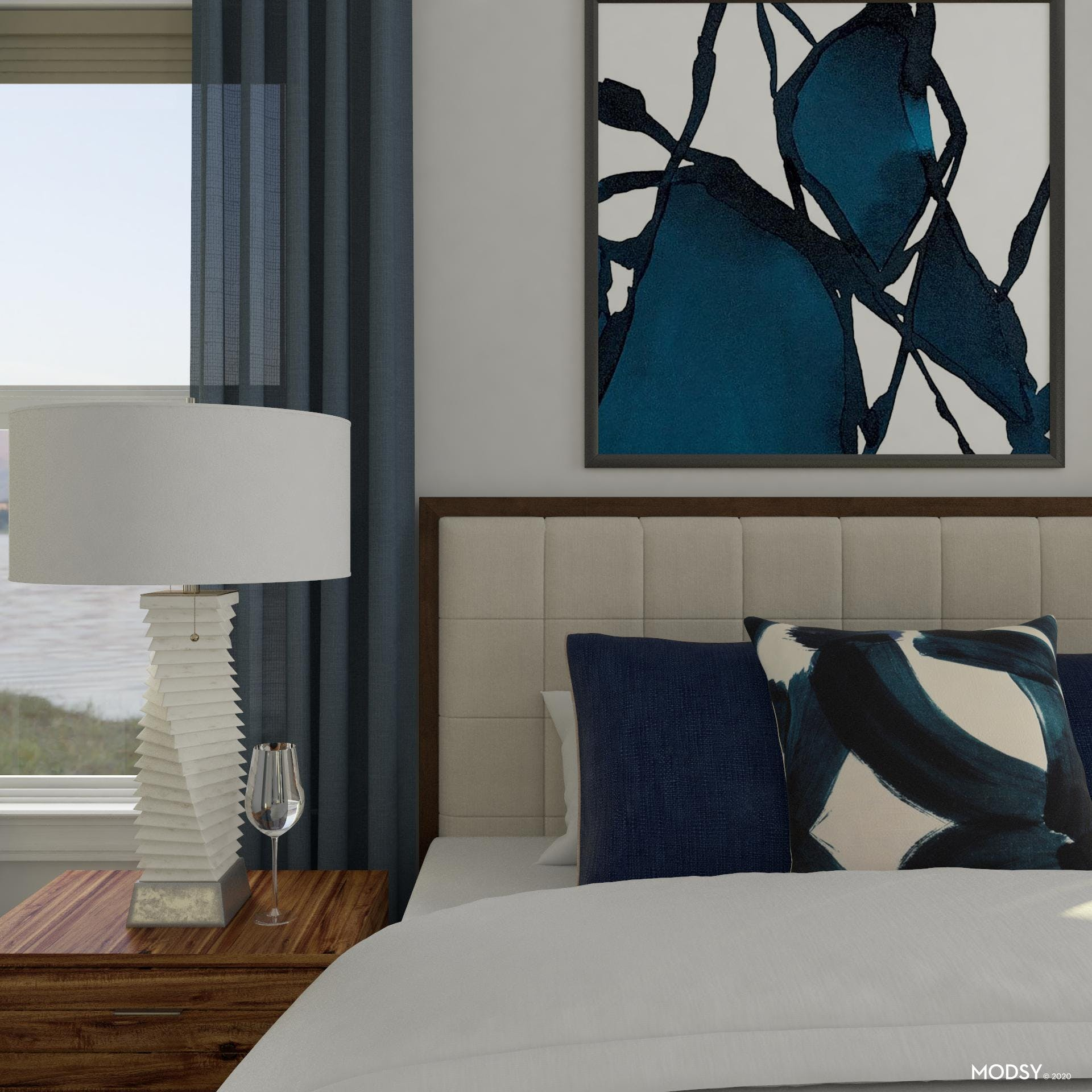 Bold Art and Calming Blue