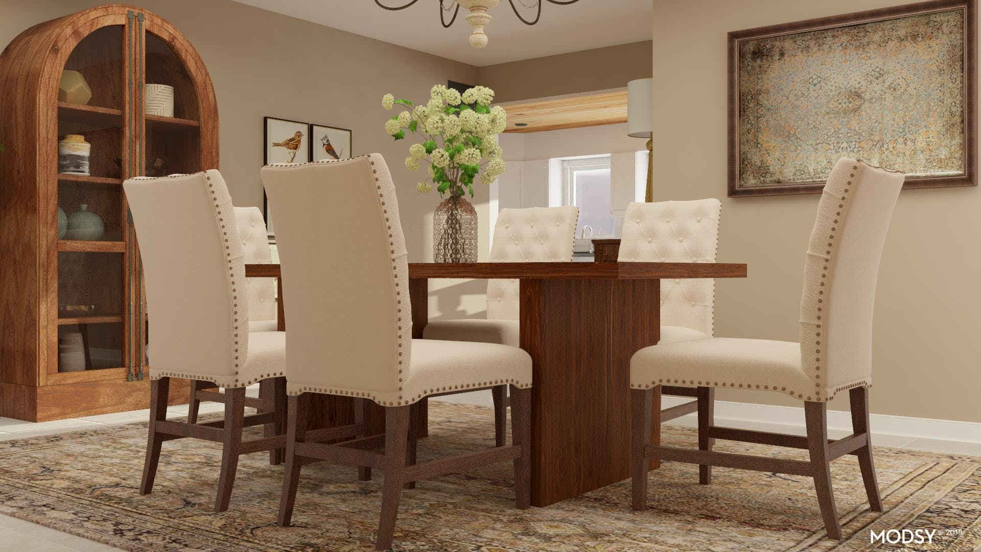 Traditional Dining Room With Neutral Color Palette