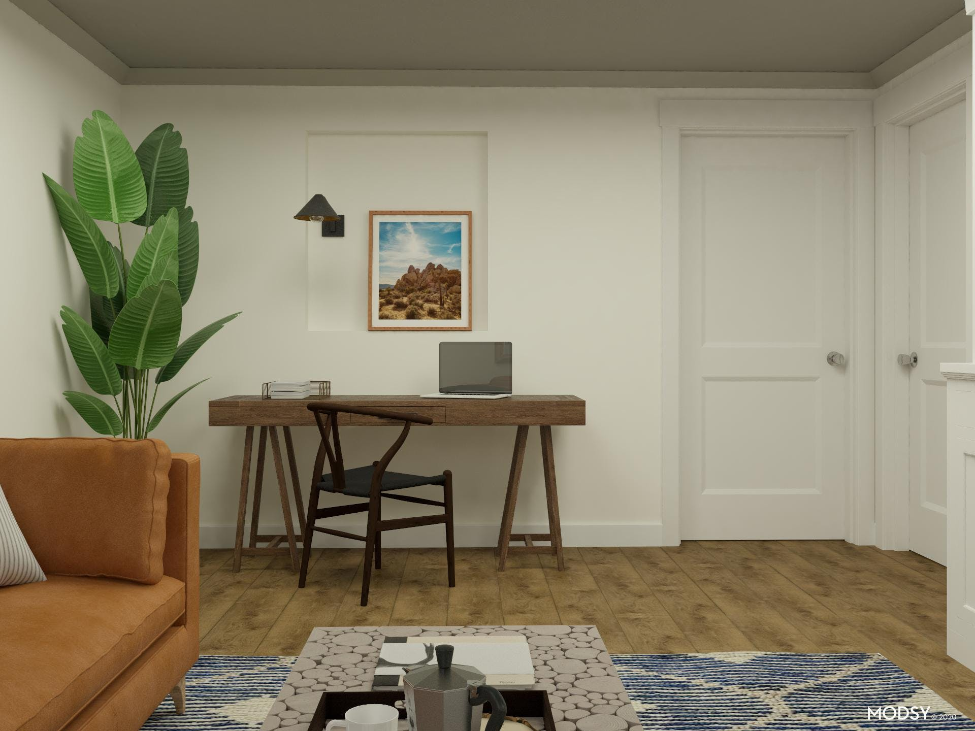 Basement Living Room Work Area in Relaxed Transitional Style