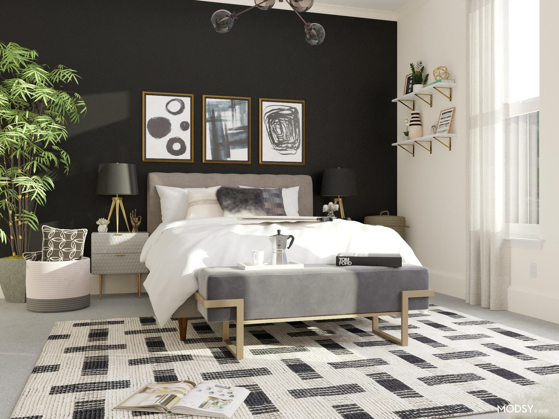 A luxurious black and white modern bedroom