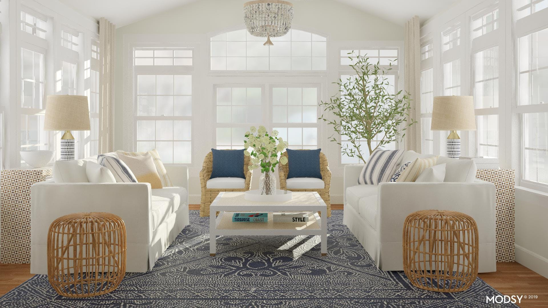 A Sophisticated Beach House Living Room
