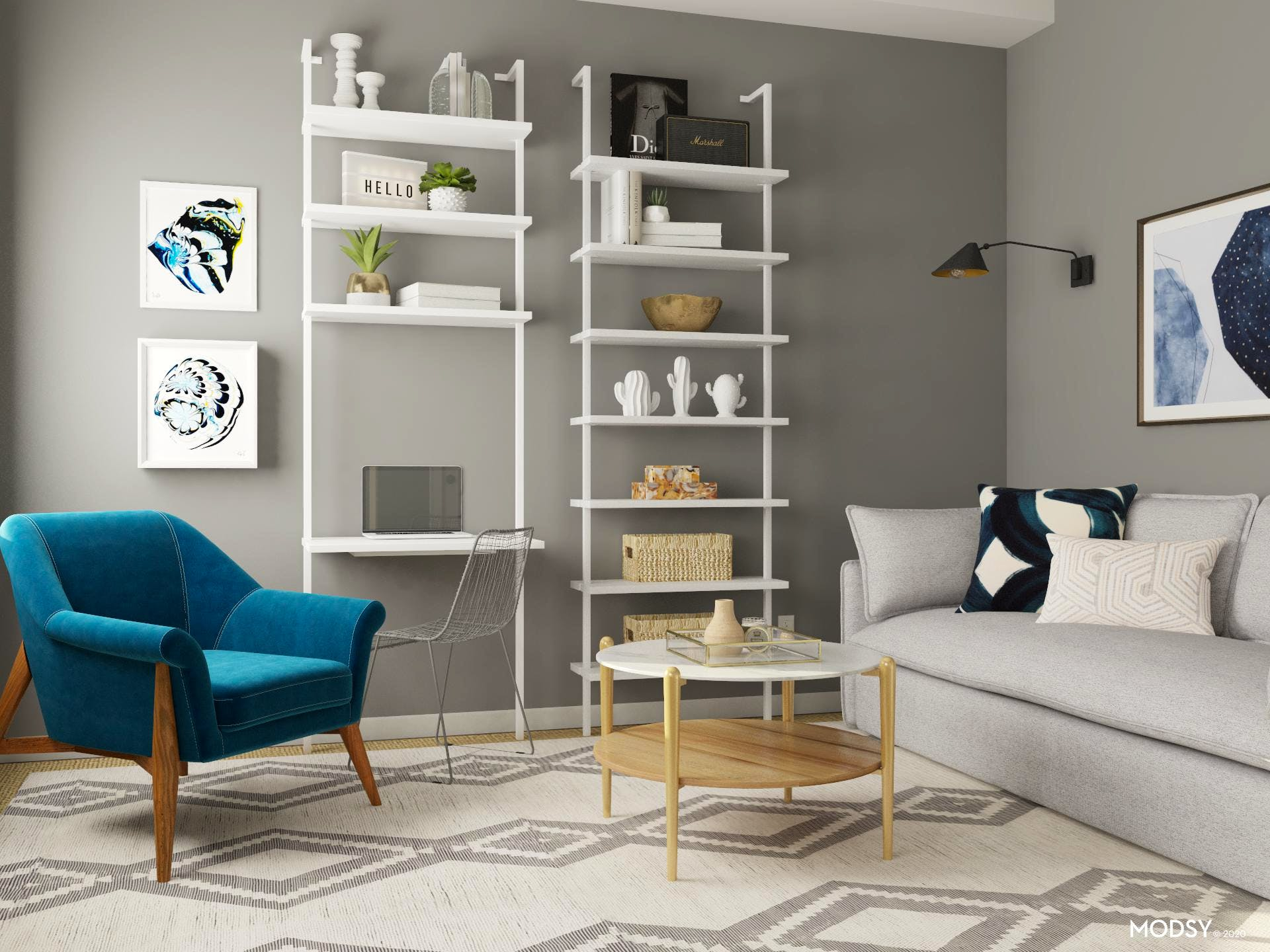 Mid-Century-Modern Living Room With Fab Bookcase Styling
